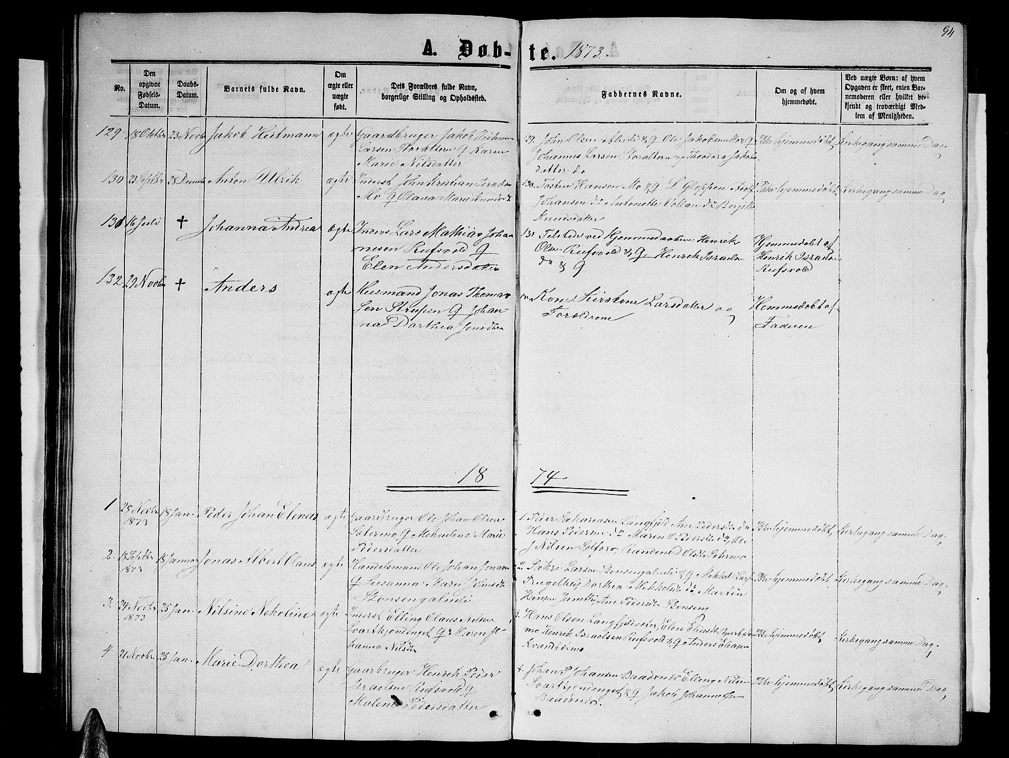 SAT, Ministerialprotokoller, klokkerbøker og fødselsregistre - Nordland, 827/L0415: Parish register (copy) no. 827C04, 1864-1886, p. 94