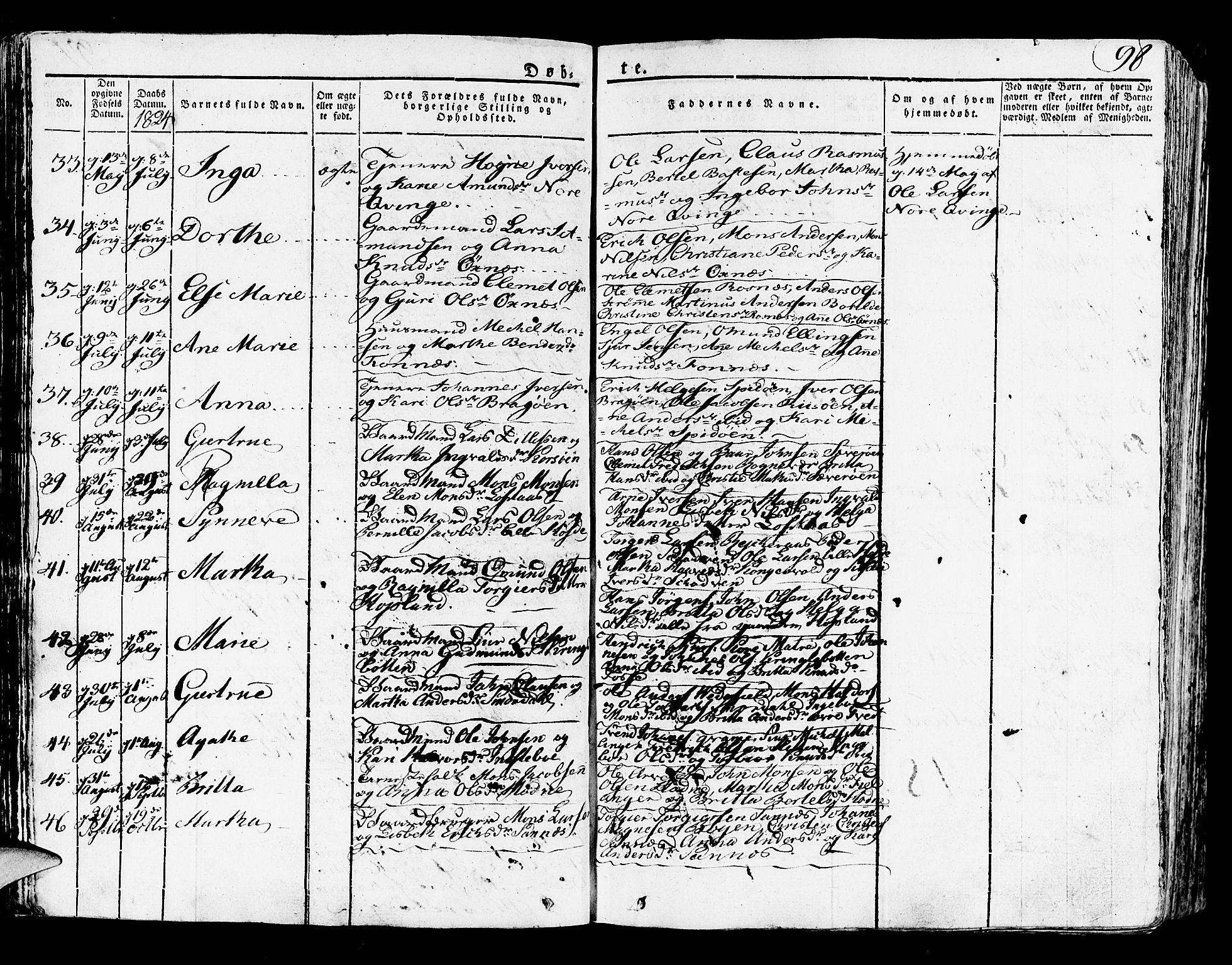 SAB, Lindås Sokneprestembete, H/Haa: Parish register (official) no. A 8, 1823-1836, p. 98