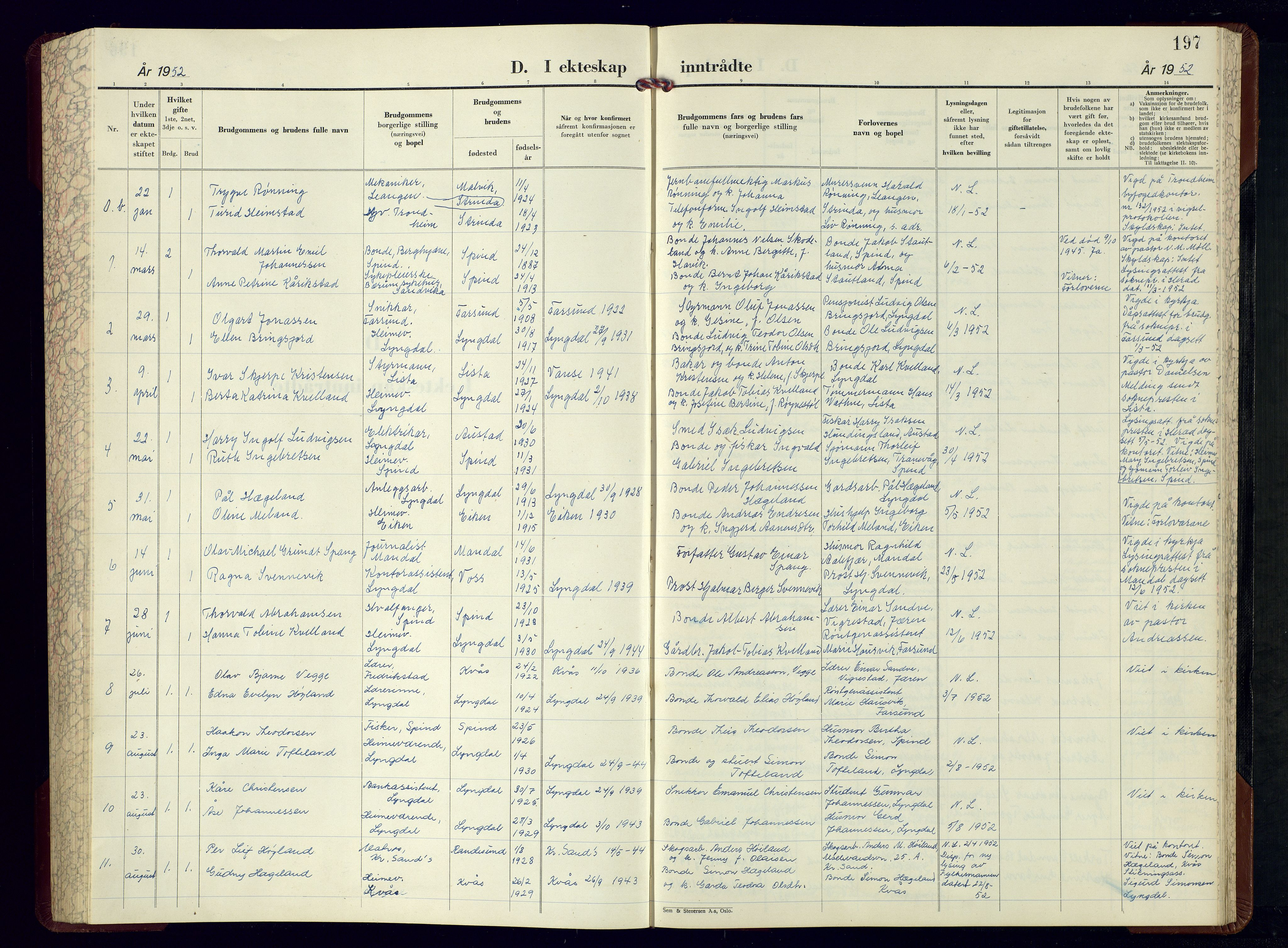 SAK, Lyngdal sokneprestkontor, F/Fb/Fbc/L0008: Parish register (copy) no. B 8, 1952-1977, p. 197