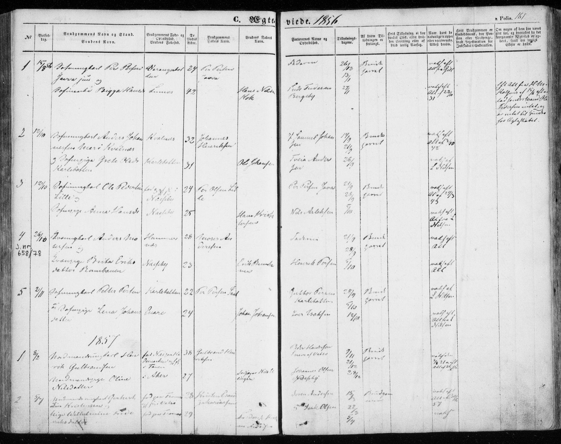 SATØ, Nesseby sokneprestkontor, H/Ha/L0002kirke: Parish register (official) no. 2, 1856-1864, p. 161