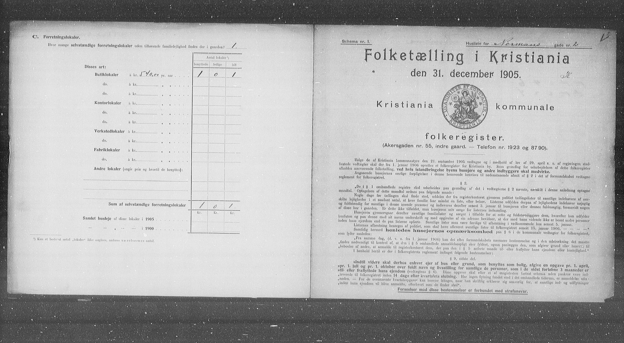 OBA, Municipal Census 1905 for Kristiania, 1905, p. 38672