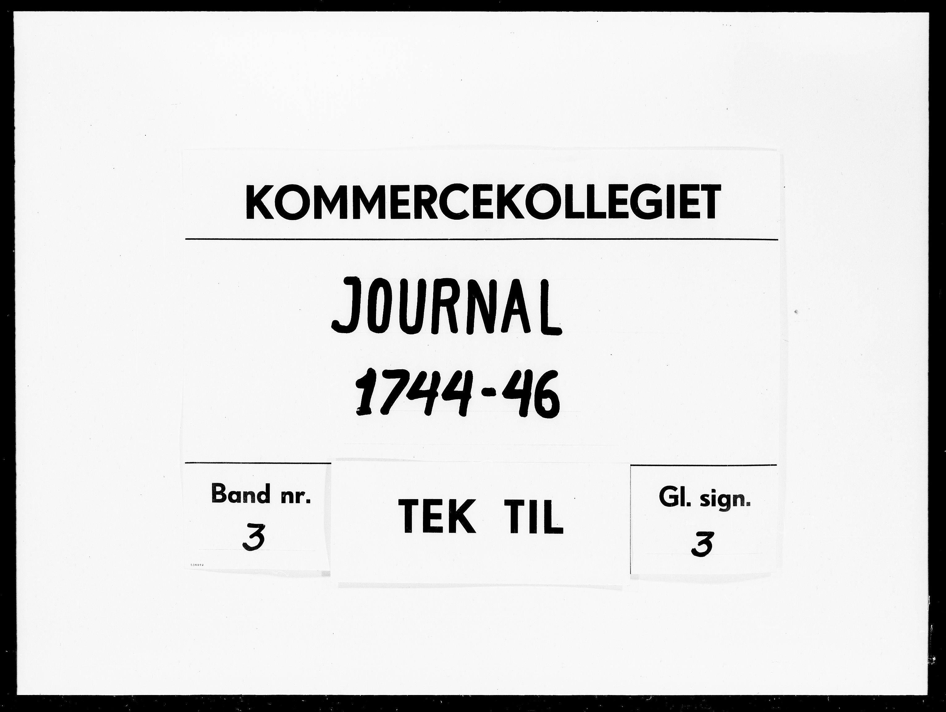 DRA, Kommercekollegiet, Dansk-Norske Sekretariat, -/51: Journal nr. 3, 1744-1746