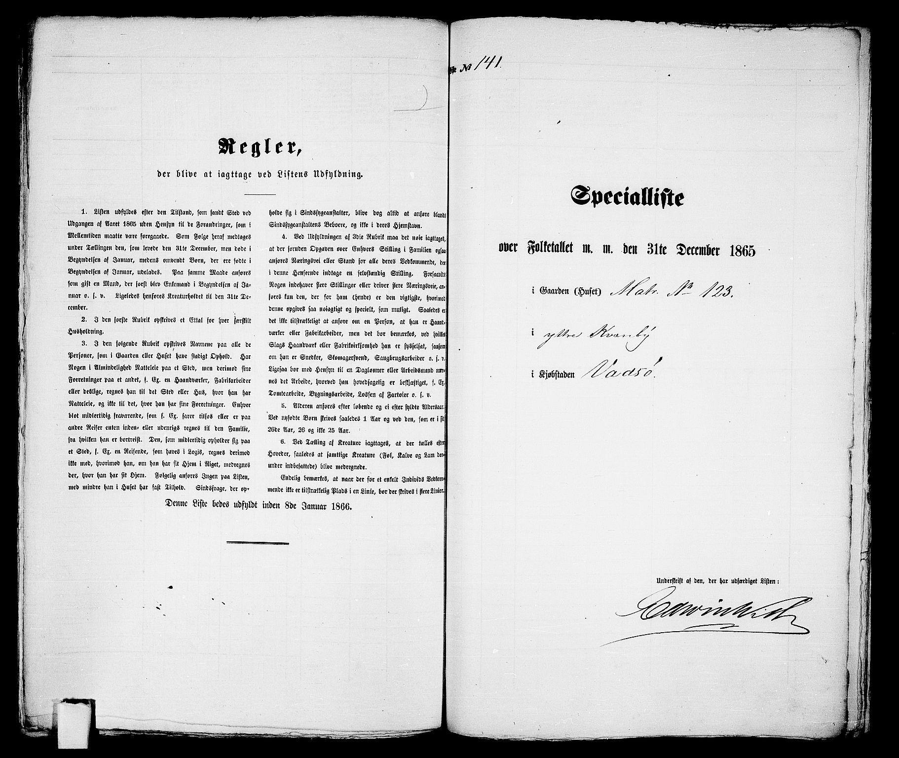 RA, 1865 census for Vadsø/Vadsø, 1865, p. 288