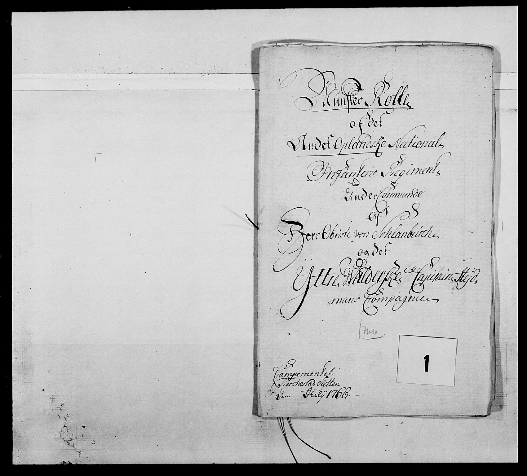 RA, Kommanderende general (KG I) med Det norske krigsdirektorium, E/Ea/L0507: 2. Opplandske regiment, 1766-1767, p. 6