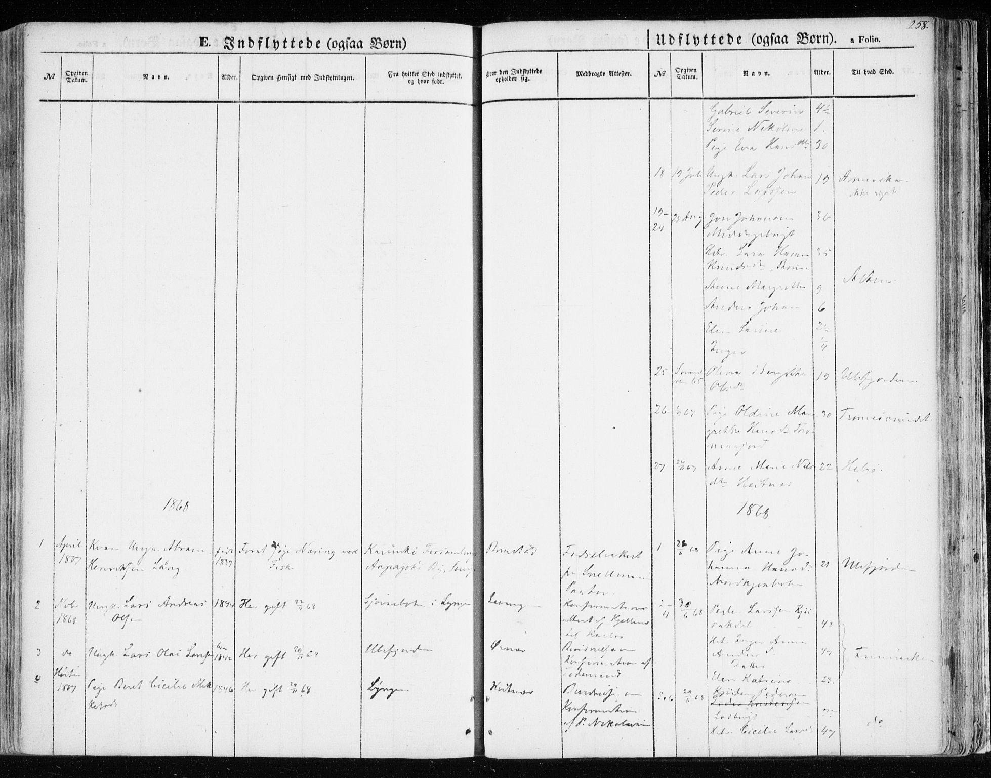 SATØ, Balsfjord sokneprestembete, Parish register (official) no. 3, 1856-1870, p. 258