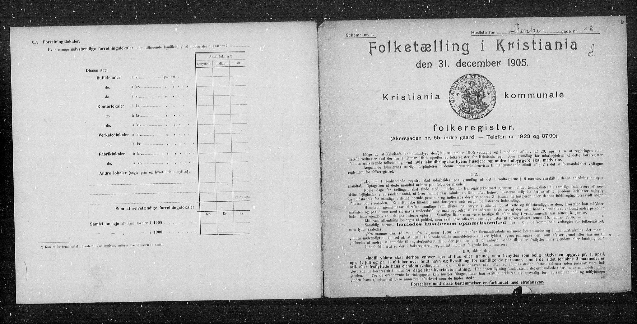 OBA, Municipal Census 1905 for Kristiania, 1905, p. 1782