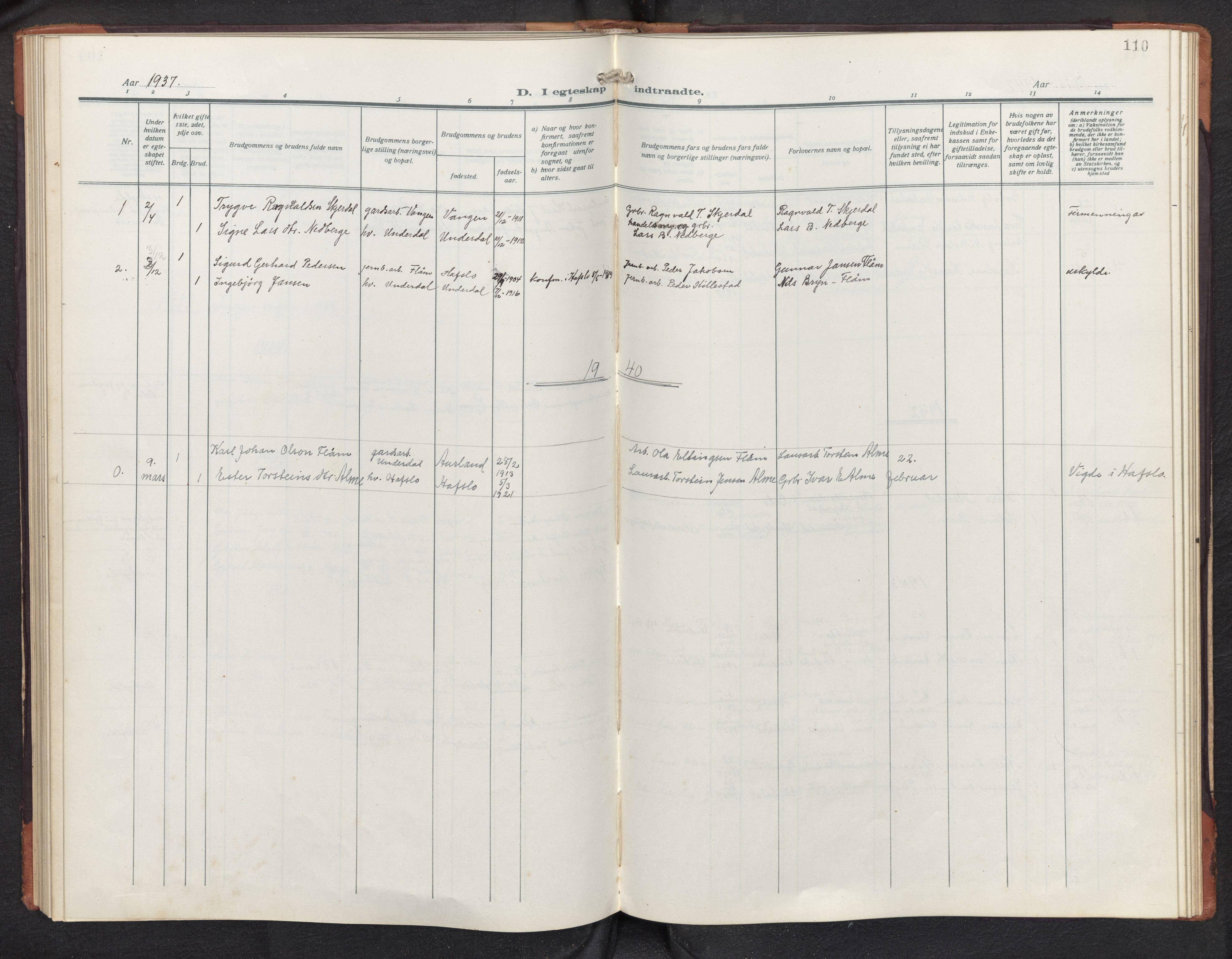 SAB, Aurland sokneprestembete, H/Hb/Hbd/L0003: Parish register (copy) no. D 3, 1920-1968, p. 109b-110a
