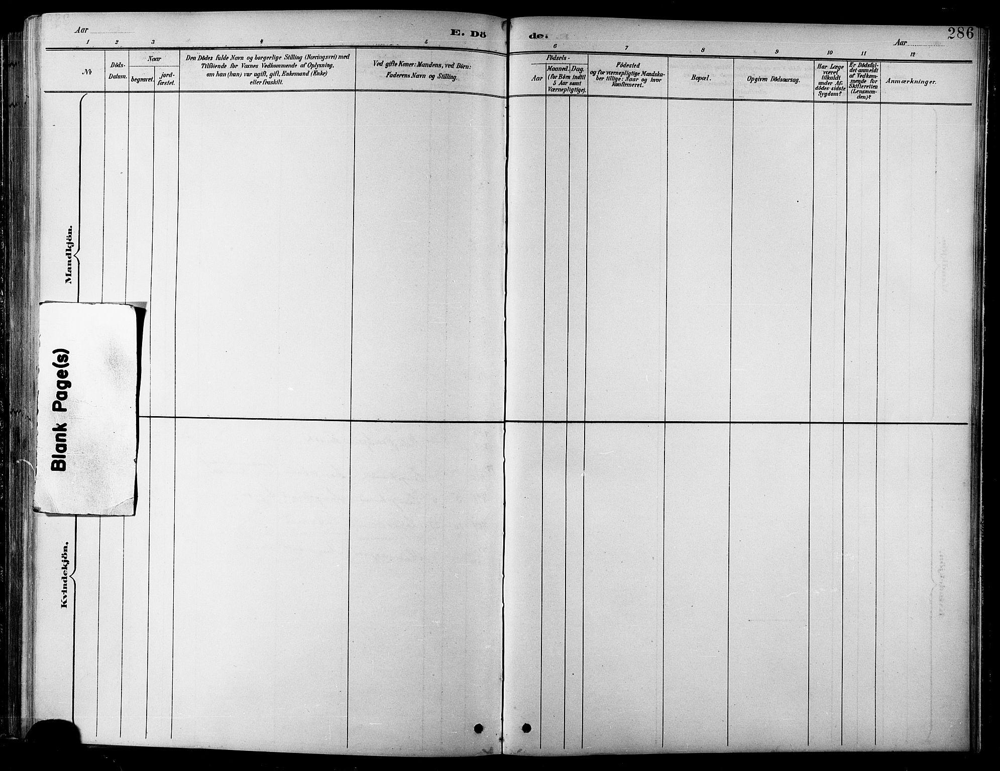 SATØ, Balsfjord sokneprestembete, Parish register (copy) no. 8, 1890-1906, p. 286