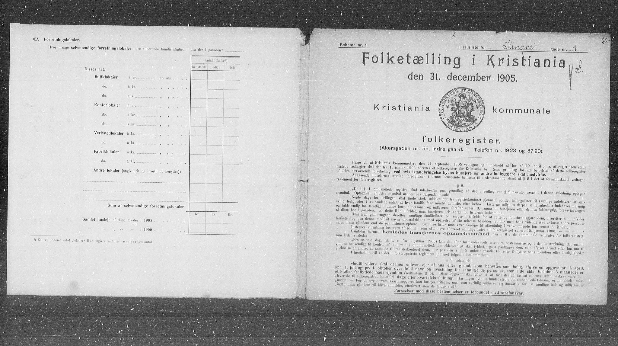 OBA, Municipal Census 1905 for Kristiania, 1905, p. 25959