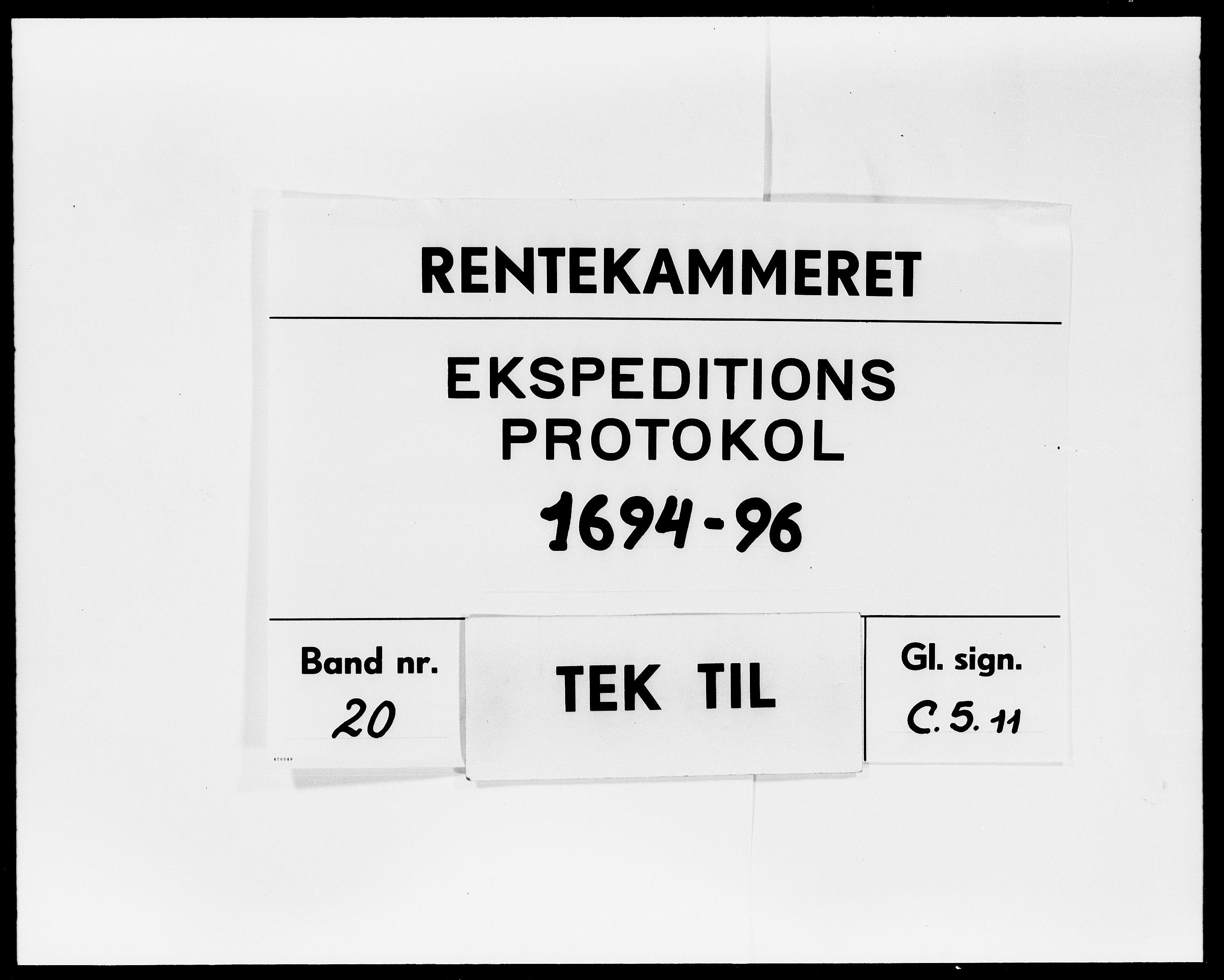 DRA, Rentekammeret Skatkammeret, Danske Sekretariat (1660-1679) / Rentekammeret Danske Afdeling, Kammerkancelliet (1679-1771), -/2212-10: Ekspeditionsprotokol, 1694-1696