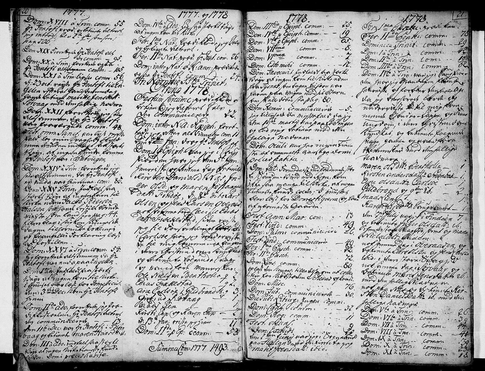 SAT, Ministerialprotokoller, klokkerbøker og fødselsregistre - Nordland, 859/L0841: Parish register (official) no. 859A01, 1766-1821, p. 20-21