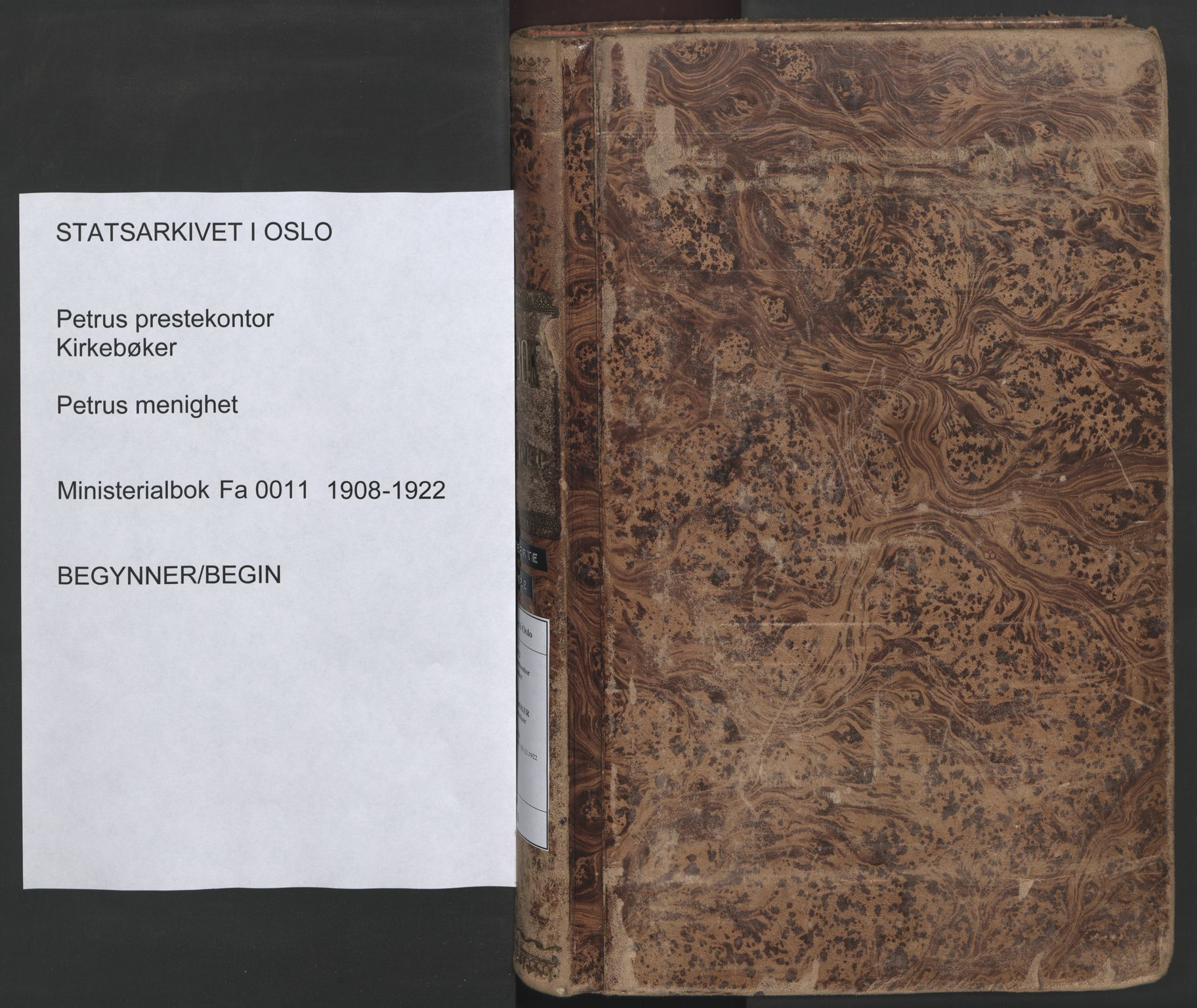 SAO, Petrus prestekontor Kirkebøker, F/Fa/L0011: Parish register (official) no. 11, 1908-1922