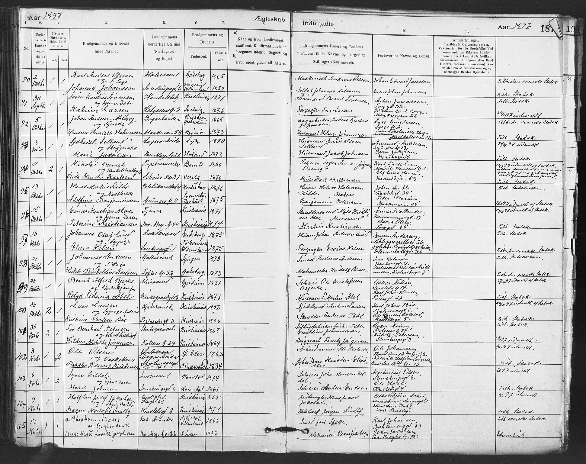 SAO, Paulus prestekontor Kirkebøker, F/Fa/L0012: Parish register (official) no. 12, 1897-1908, p. 187