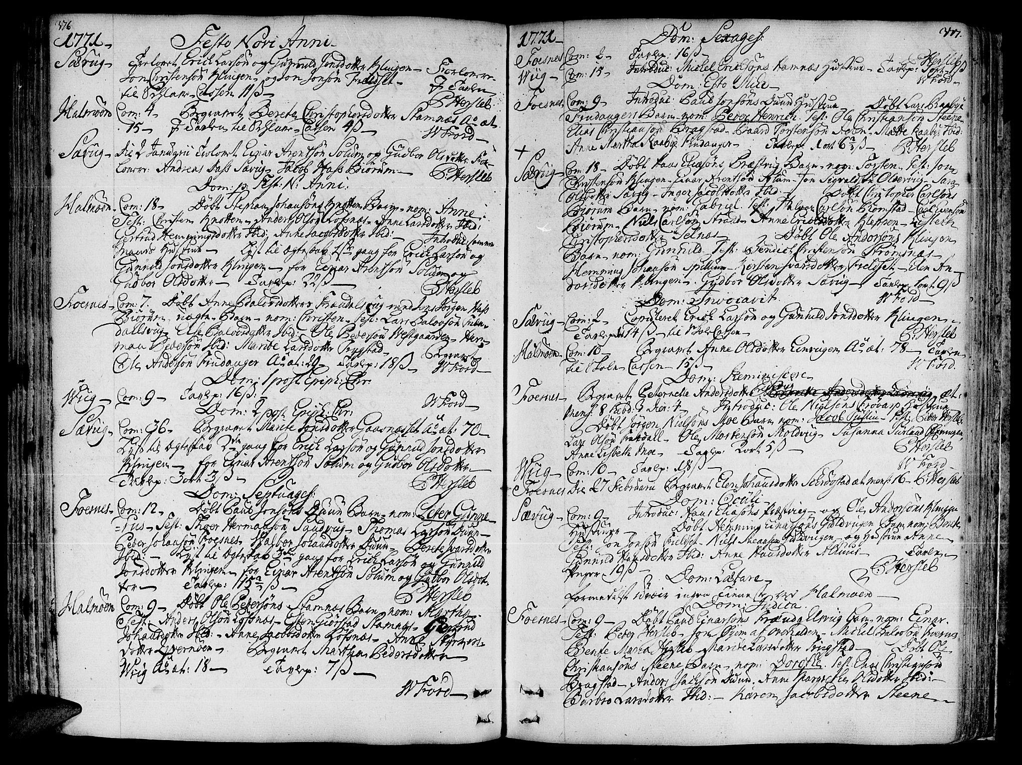 SAT, Ministerialprotokoller, klokkerbøker og fødselsregistre - Nord-Trøndelag, 773/L0607: Parish register (official) no. 773A01, 1751-1783, p. 376-377