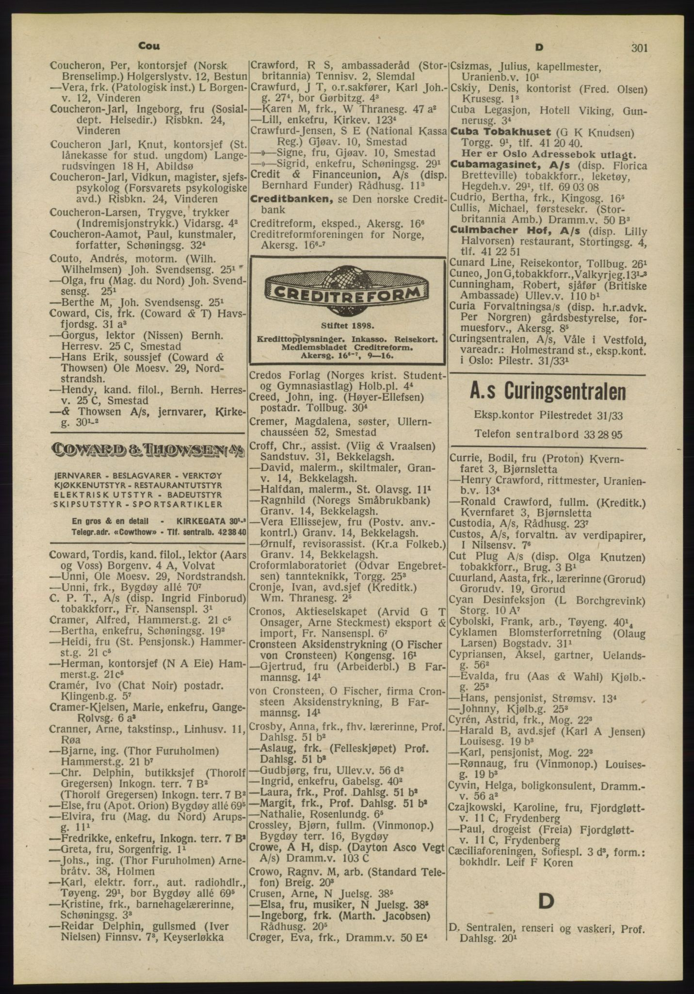 PUBL, Kristiania/Oslo adressebok, 1955, p. 301