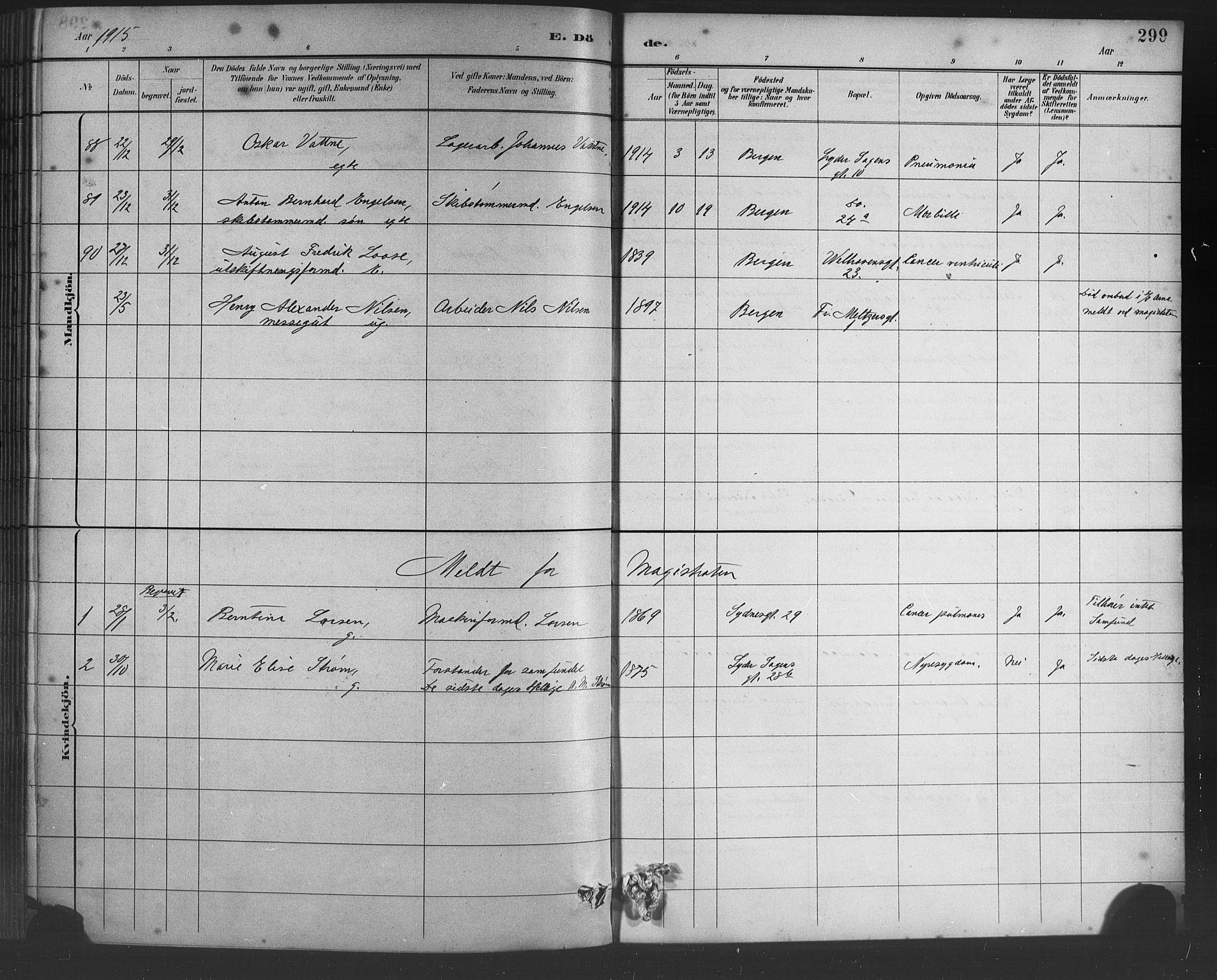SAB, Johanneskirken Sokneprestembete, H/Hab: Parish register (copy) no. D 1, 1885-1915, p. 299