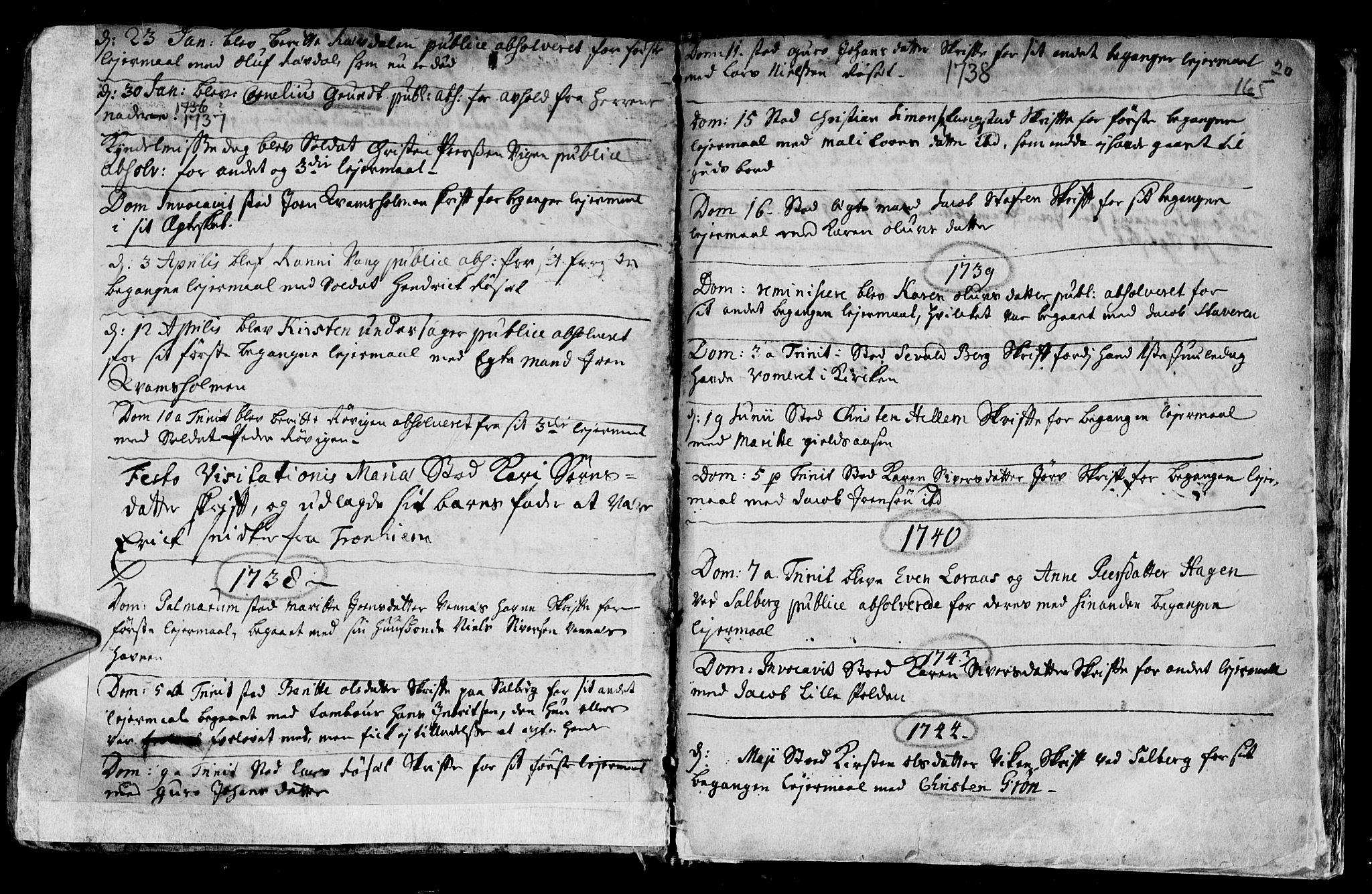 SAT, Ministerialprotokoller, klokkerbøker og fødselsregistre - Nord-Trøndelag, 730/L0272: Parish register (official) no. 730A01, 1733-1764, p. 165