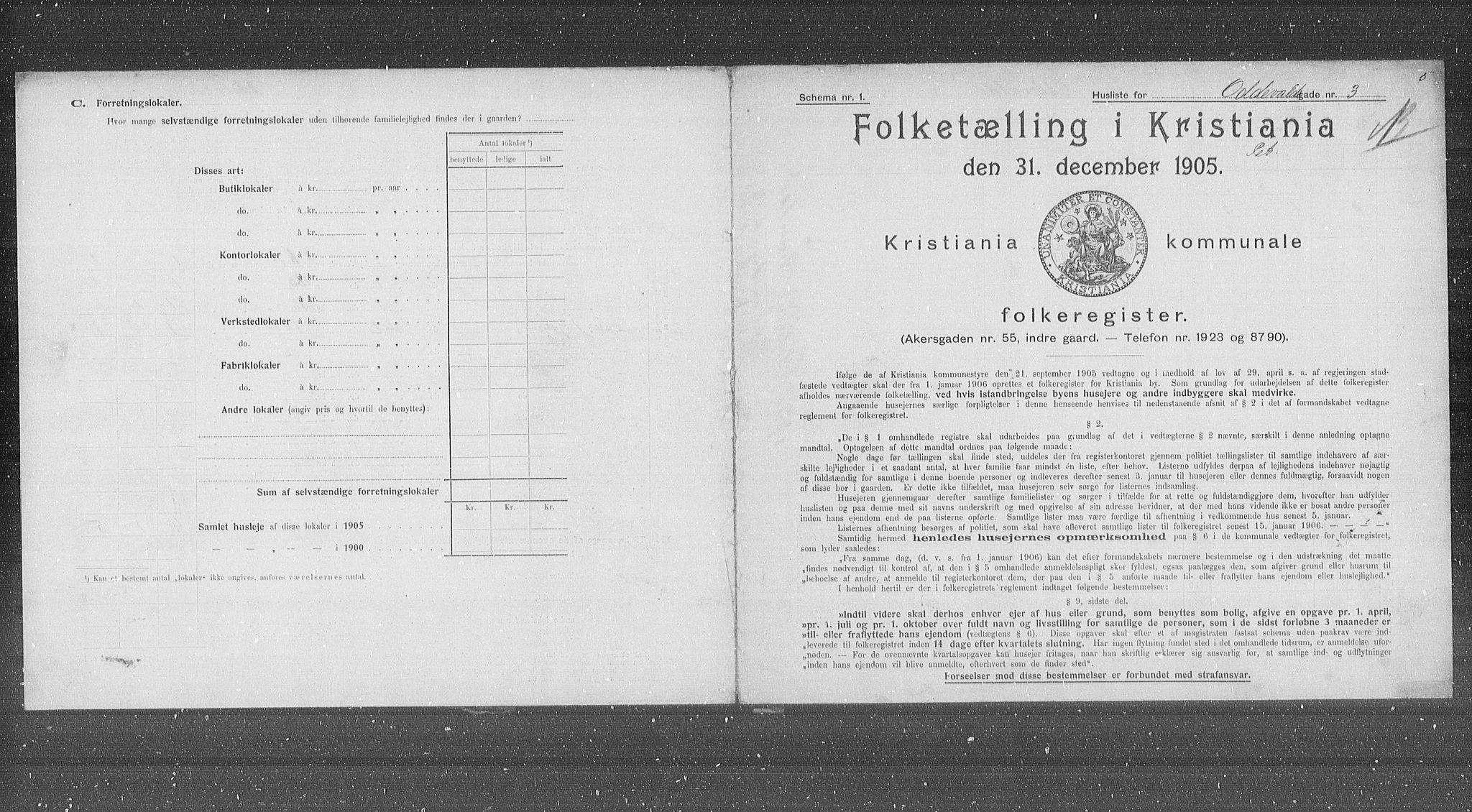 OBA, Municipal Census 1905 for Kristiania, 1905, p. 39235
