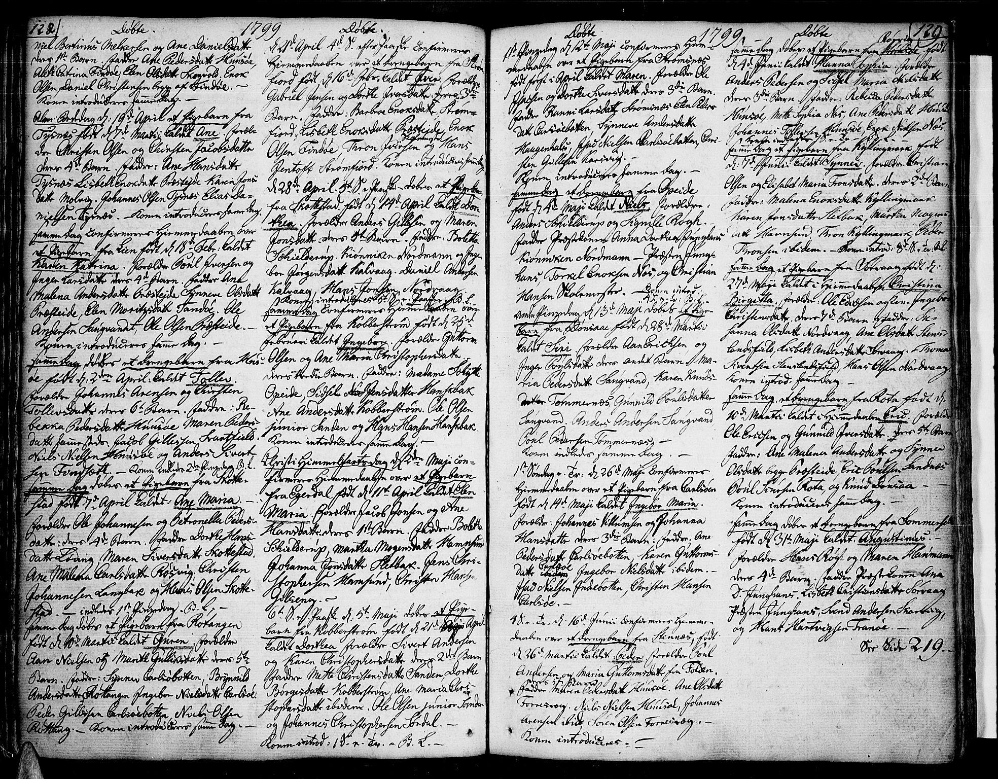 SAT, Ministerialprotokoller, klokkerbøker og fødselsregistre - Nordland, 859/L0841: Parish register (official) no. 859A01, 1766-1821, p. 128-129