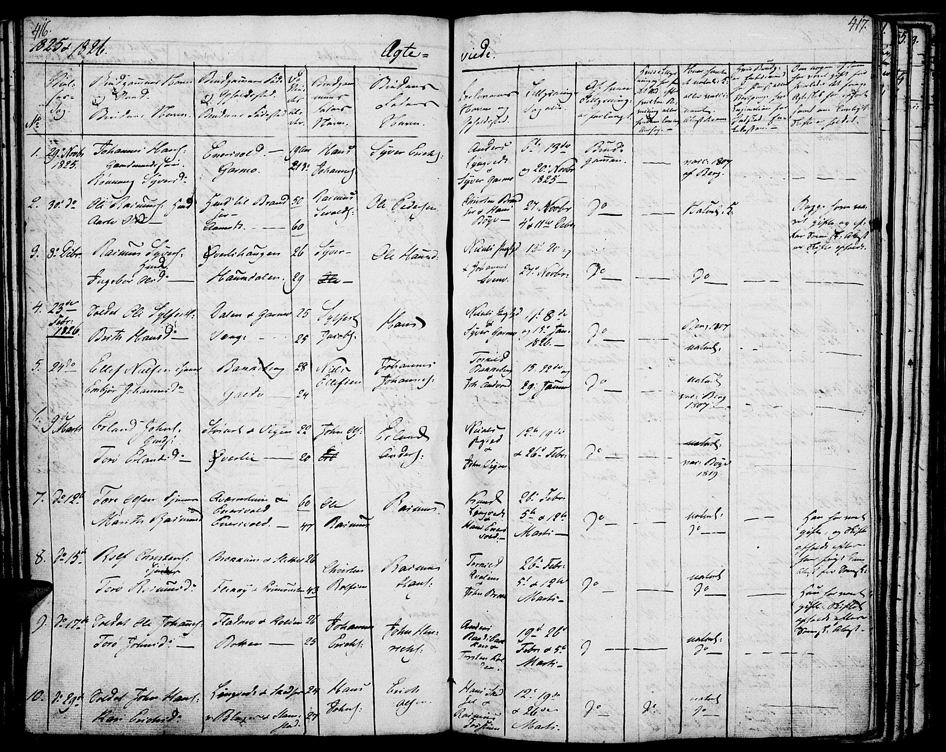 SAH, Lom prestekontor, K/L0005: Parish register (official) no. 5, 1825-1837, p. 416-417