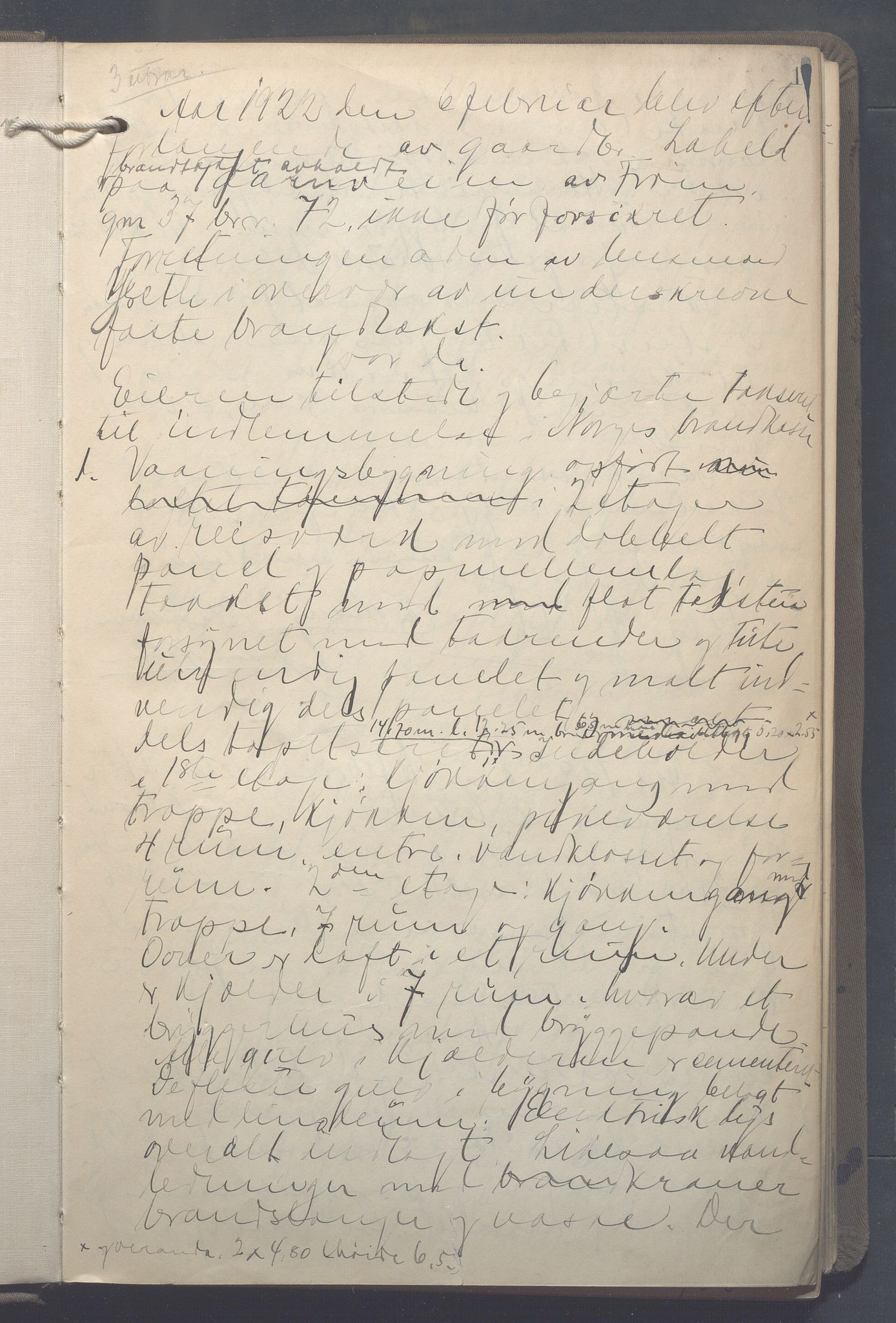 OBA, Lensmennene i Aker, F/Fa/L0021: Branntakstprotokoll, 1922-1925, p. 1