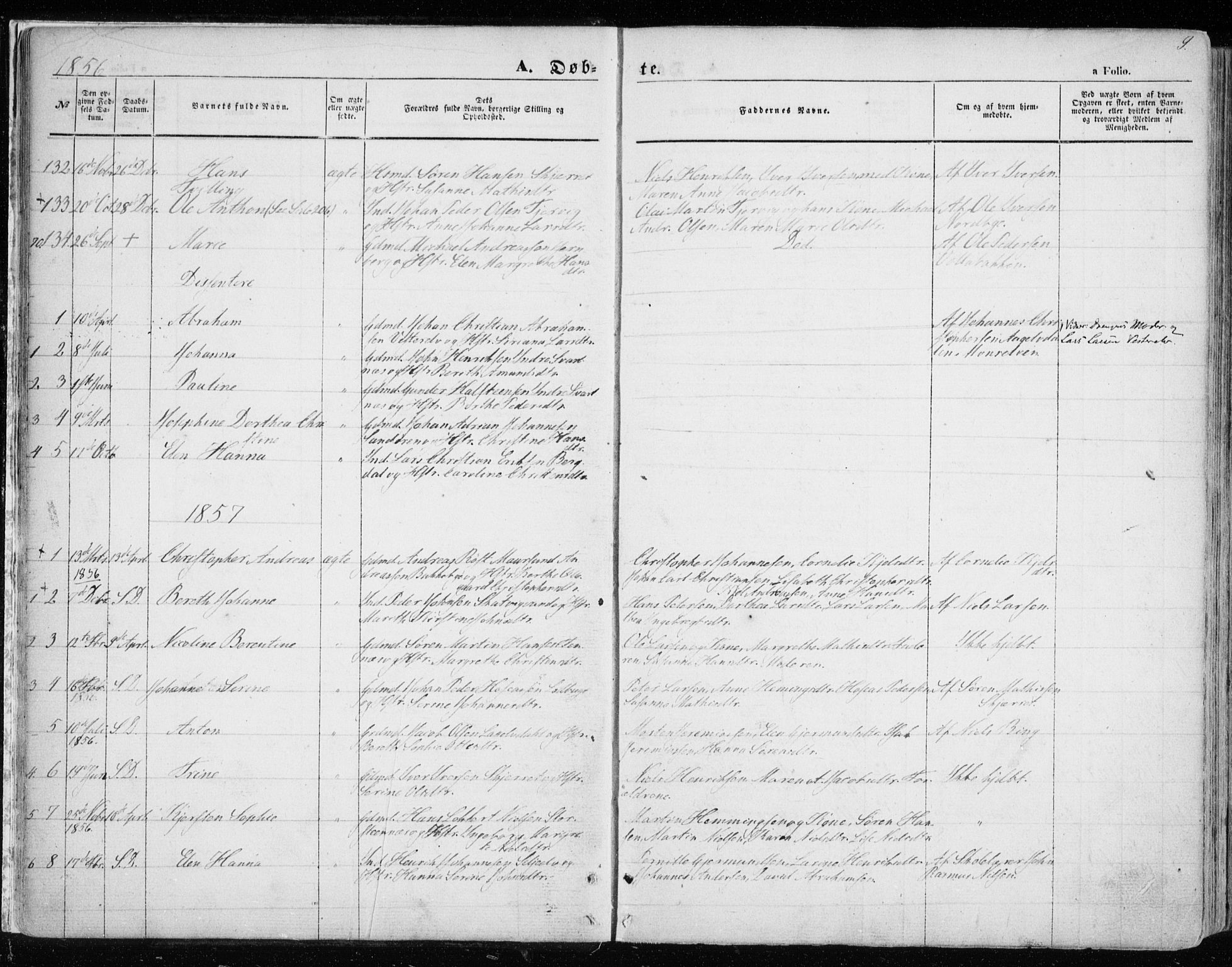 SATØ, Balsfjord sokneprestembete, Parish register (official) no. 3, 1856-1870, p. 9