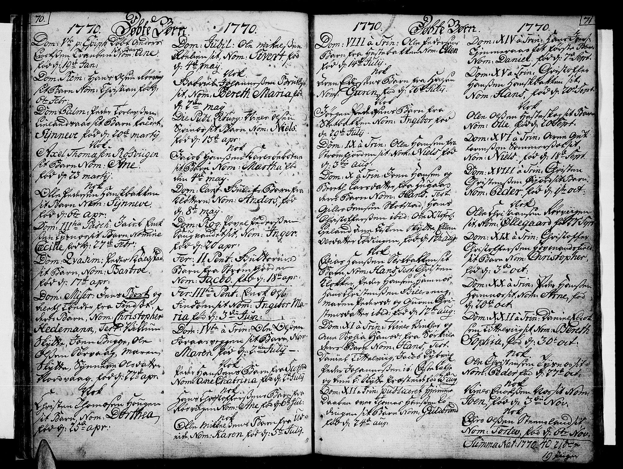 SAT, Ministerialprotokoller, klokkerbøker og fødselsregistre - Nordland, 859/L0841: Parish register (official) no. 859A01, 1766-1821, p. 70-71