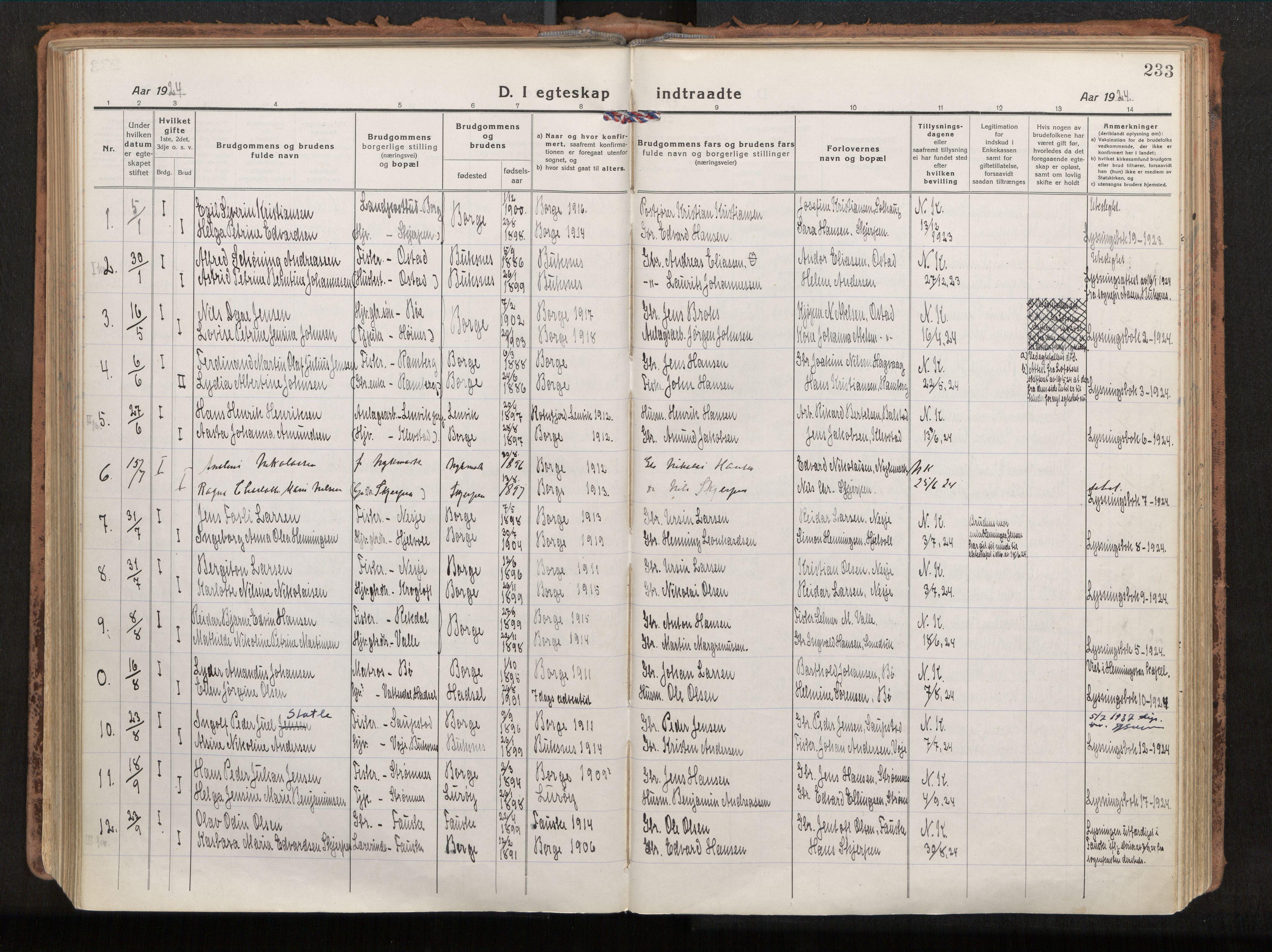 SAT, Ministerialprotokoller, klokkerbøker og fødselsregistre - Nordland, 880/L1136: Parish register (official) no. 880A10, 1919-1927, p. 233