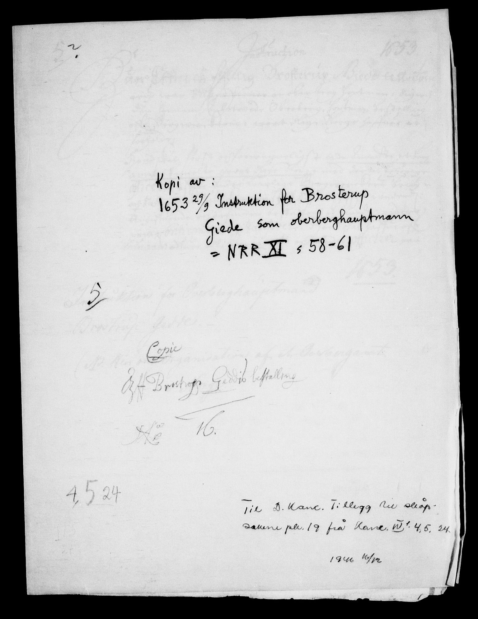 RA, Danske Kanselli, Skapsaker, G/L0019: Tillegg til skapsakene, 1616-1753, p. 189