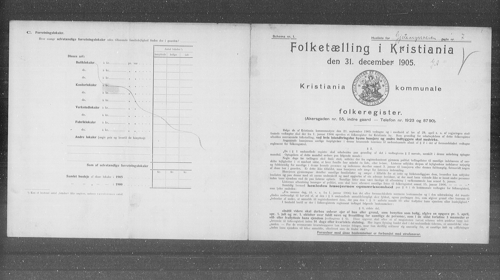OBA, Municipal Census 1905 for Kristiania, 1905, p. 15078