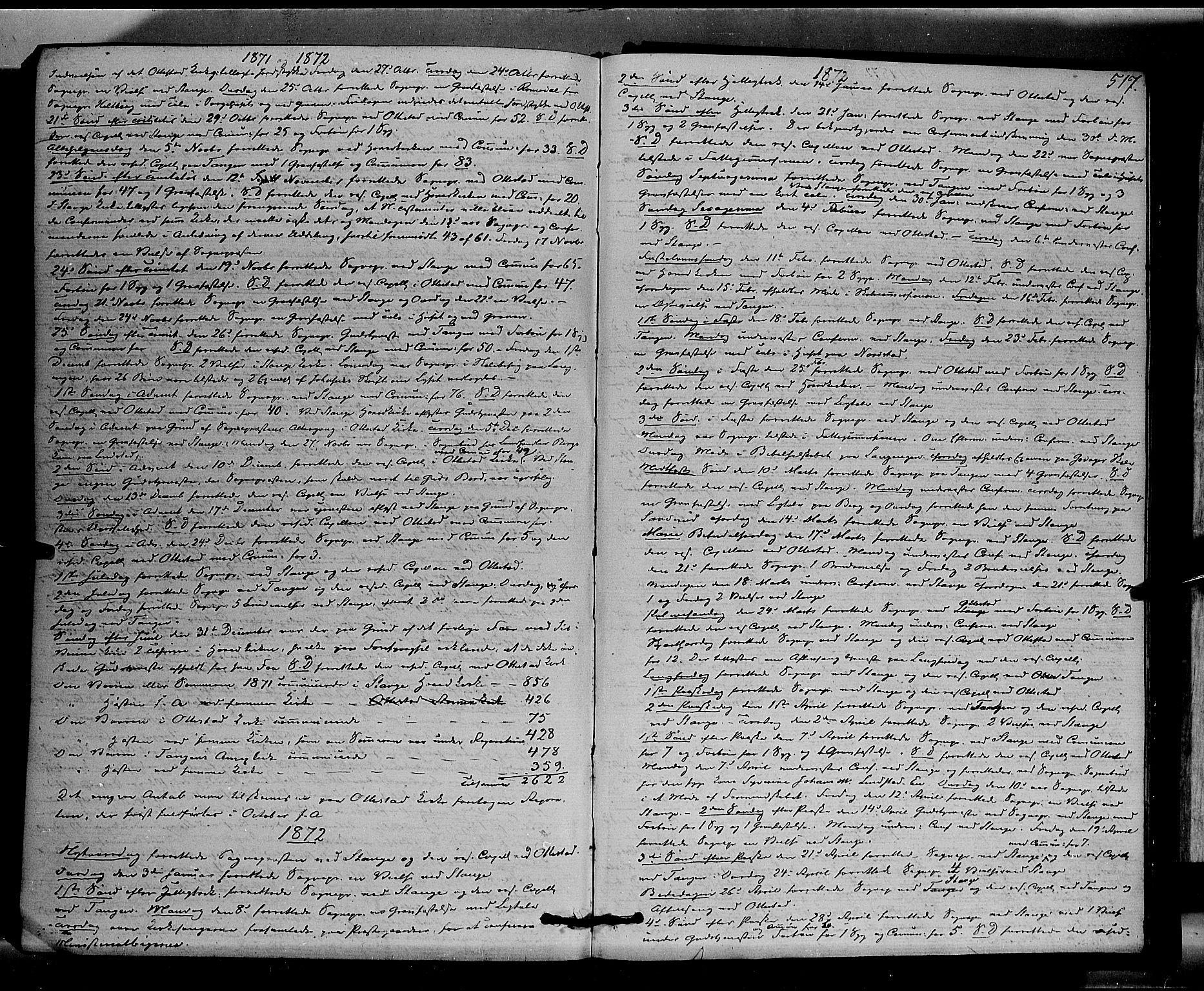 SAH, Stange prestekontor, K/L0013: Parish register (official) no. 13, 1862-1879, p. 517