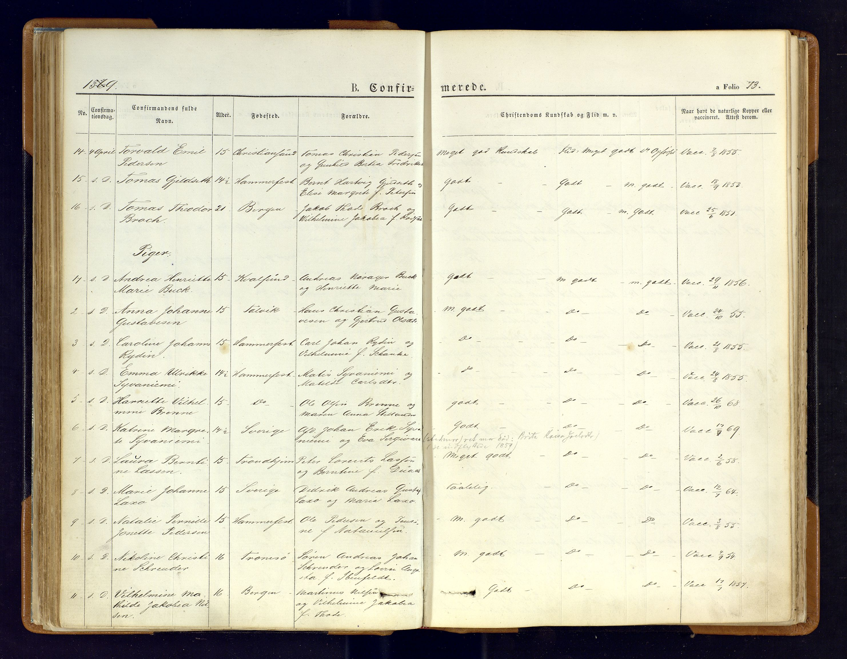 SATØ, Hammerfest sokneprestkontor, Parish register (official) no. 6, 1869-1877, p. 73