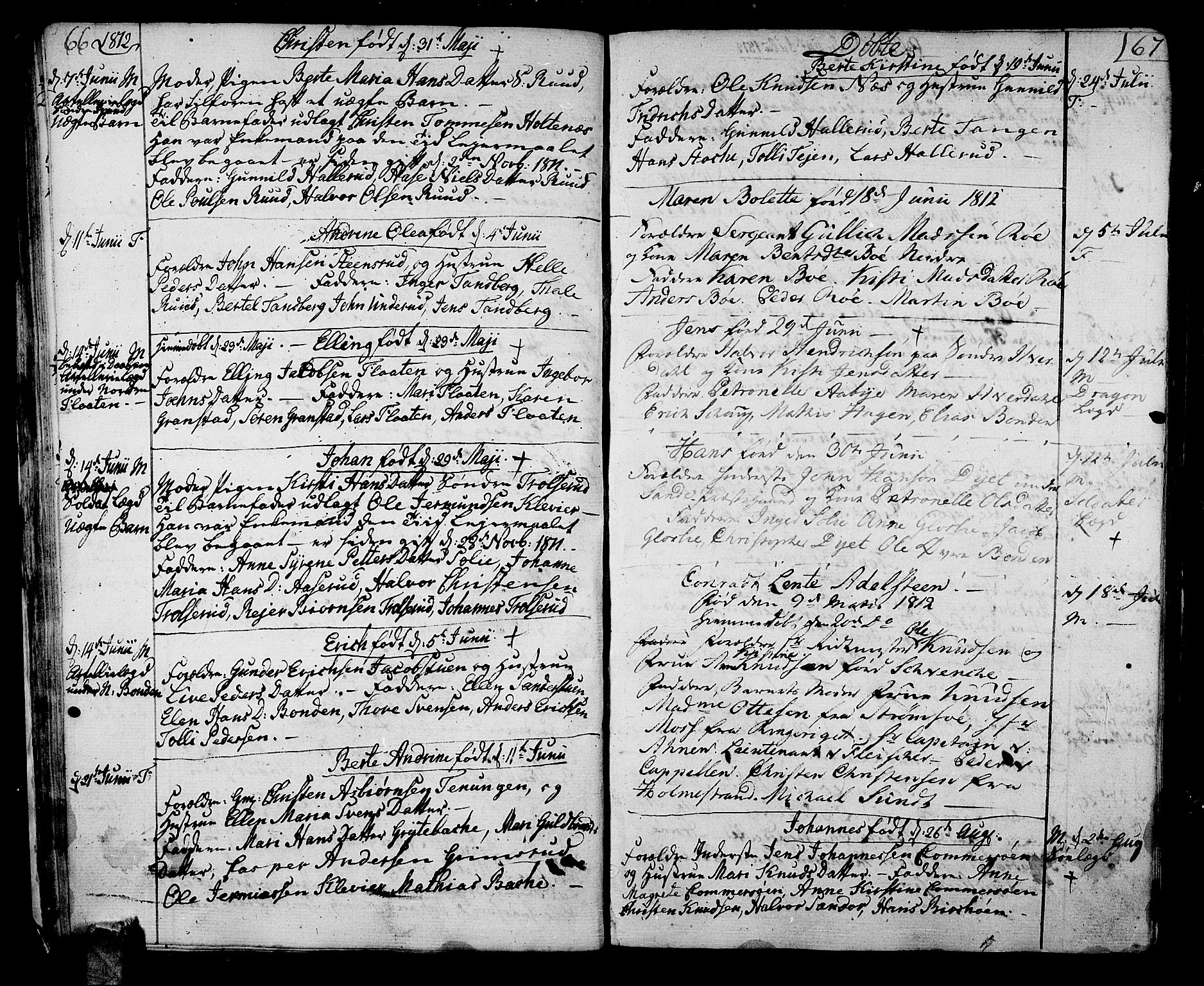 SAKO, Sande Kirkebøker, F/Fa/L0002: Parish register (official) no. 2, 1804-1814, p. 66-67