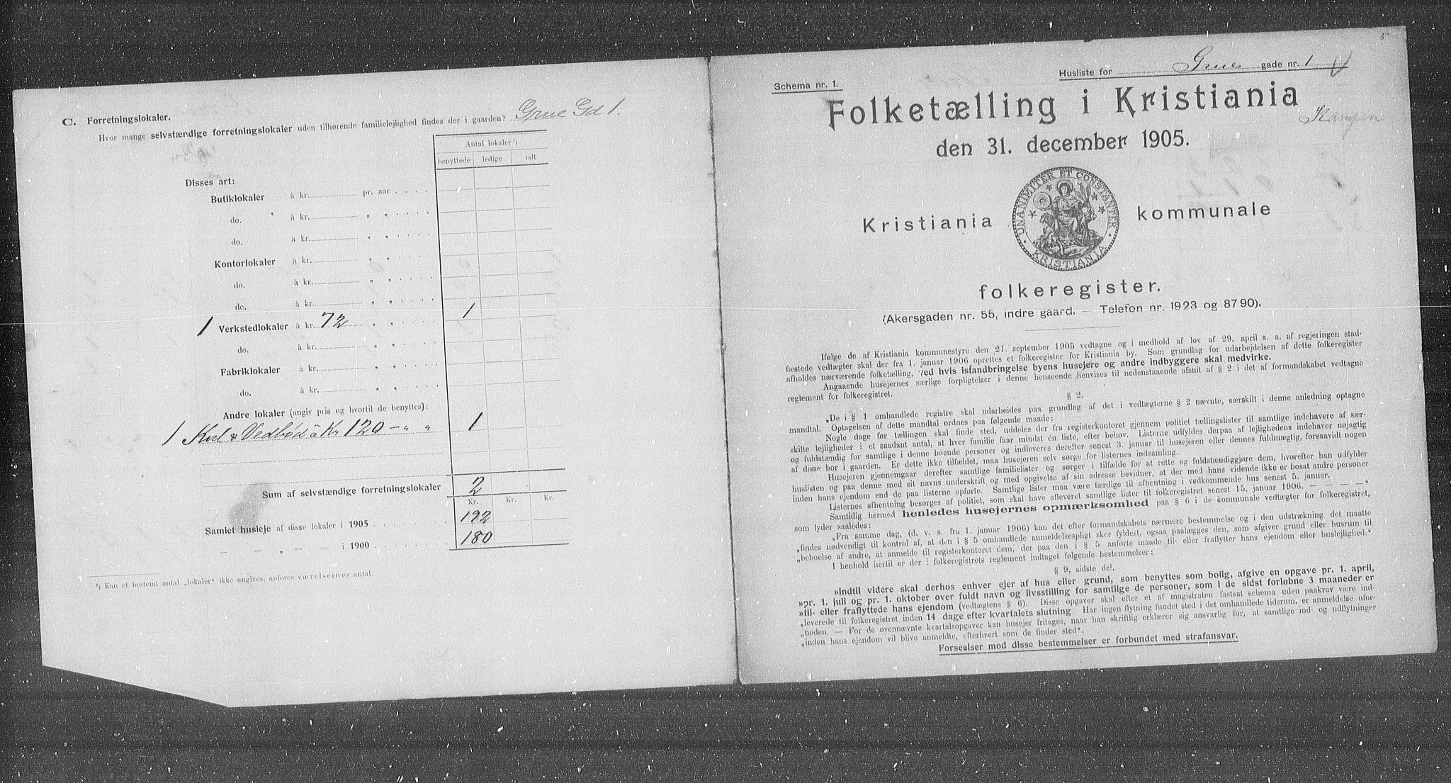 OBA, Municipal Census 1905 for Kristiania, 1905, p. 15661