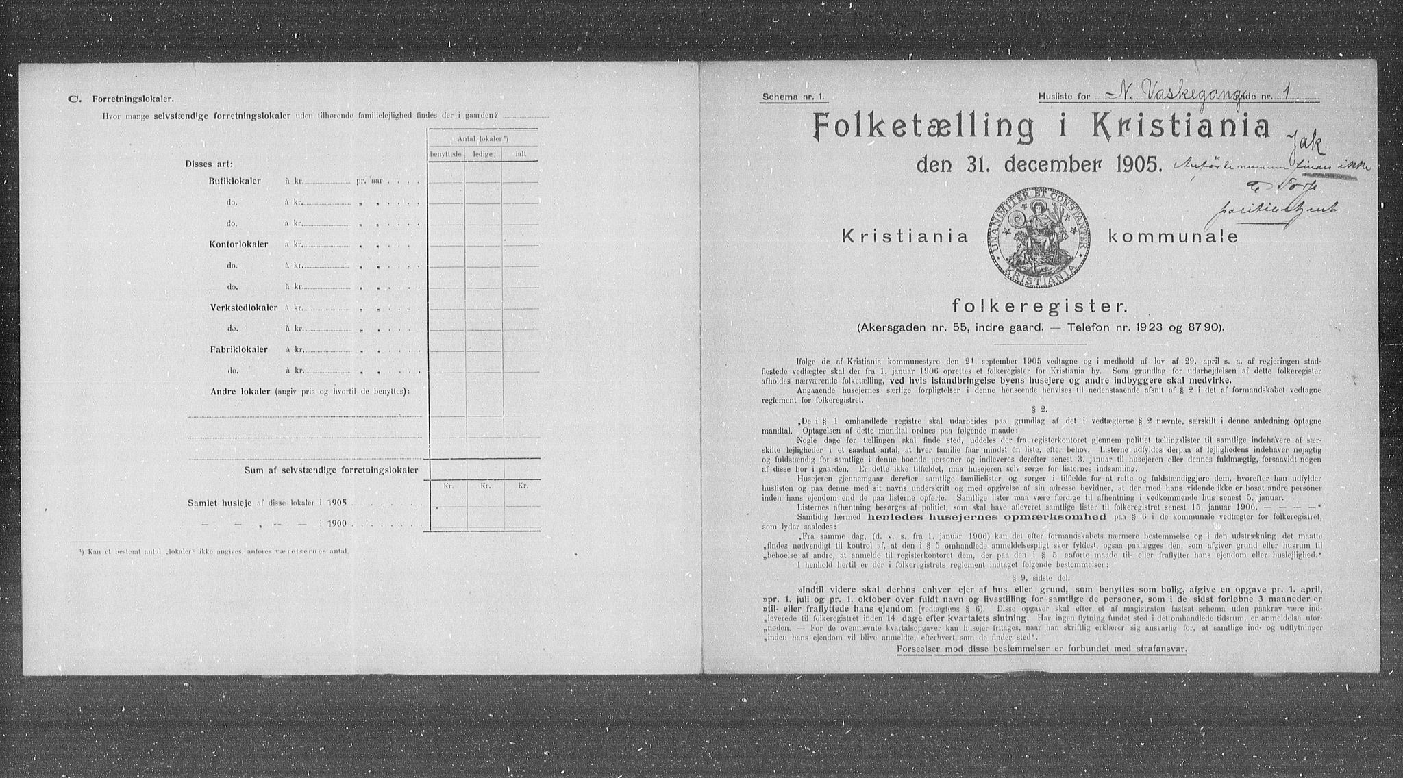 OBA, Municipal Census 1905 for Kristiania, 1905, p. 36532
