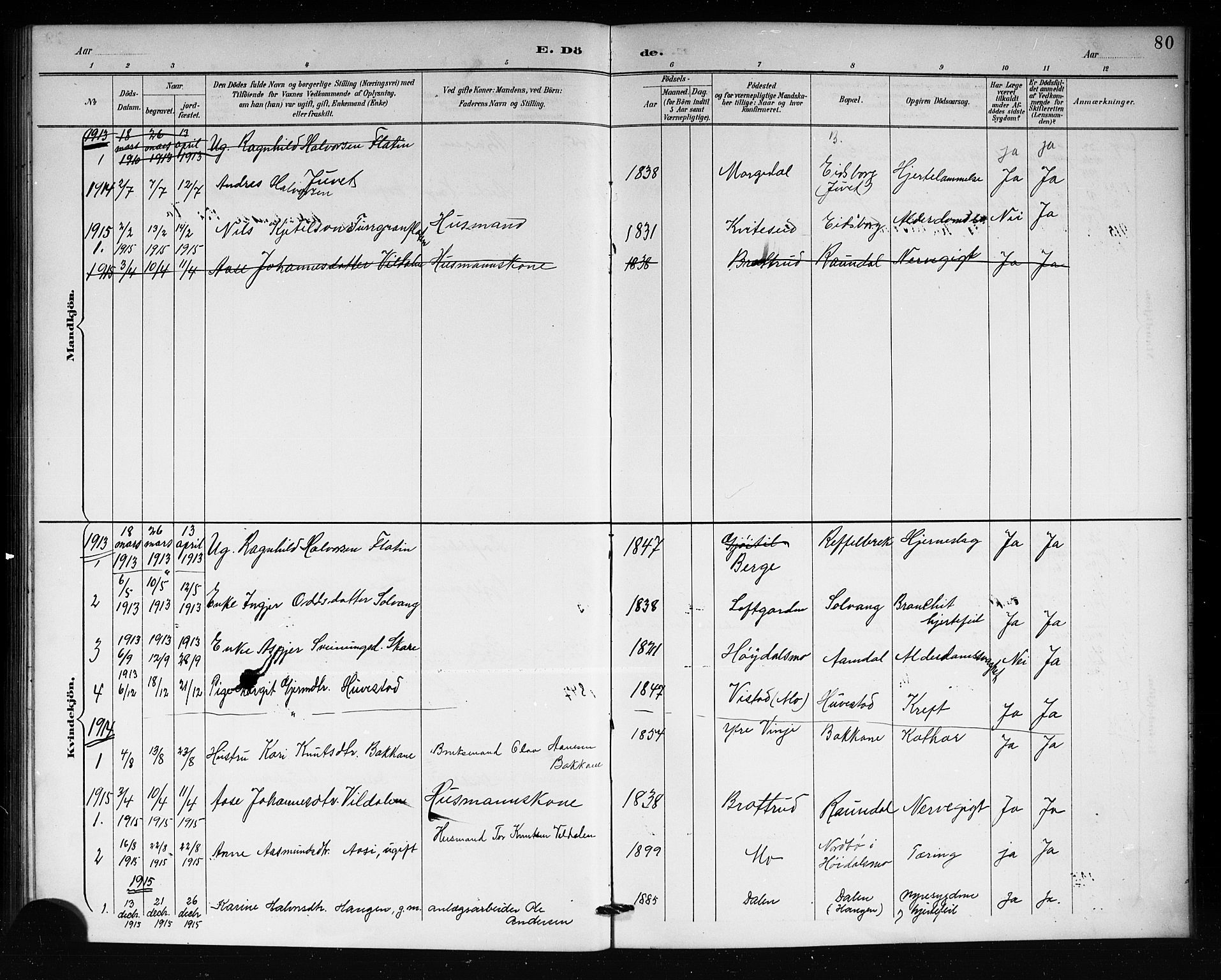 SAKO, Lårdal kirkebøker, G/Gb/L0003: Parish register (copy) no. II 3, 1889-1920, p. 80