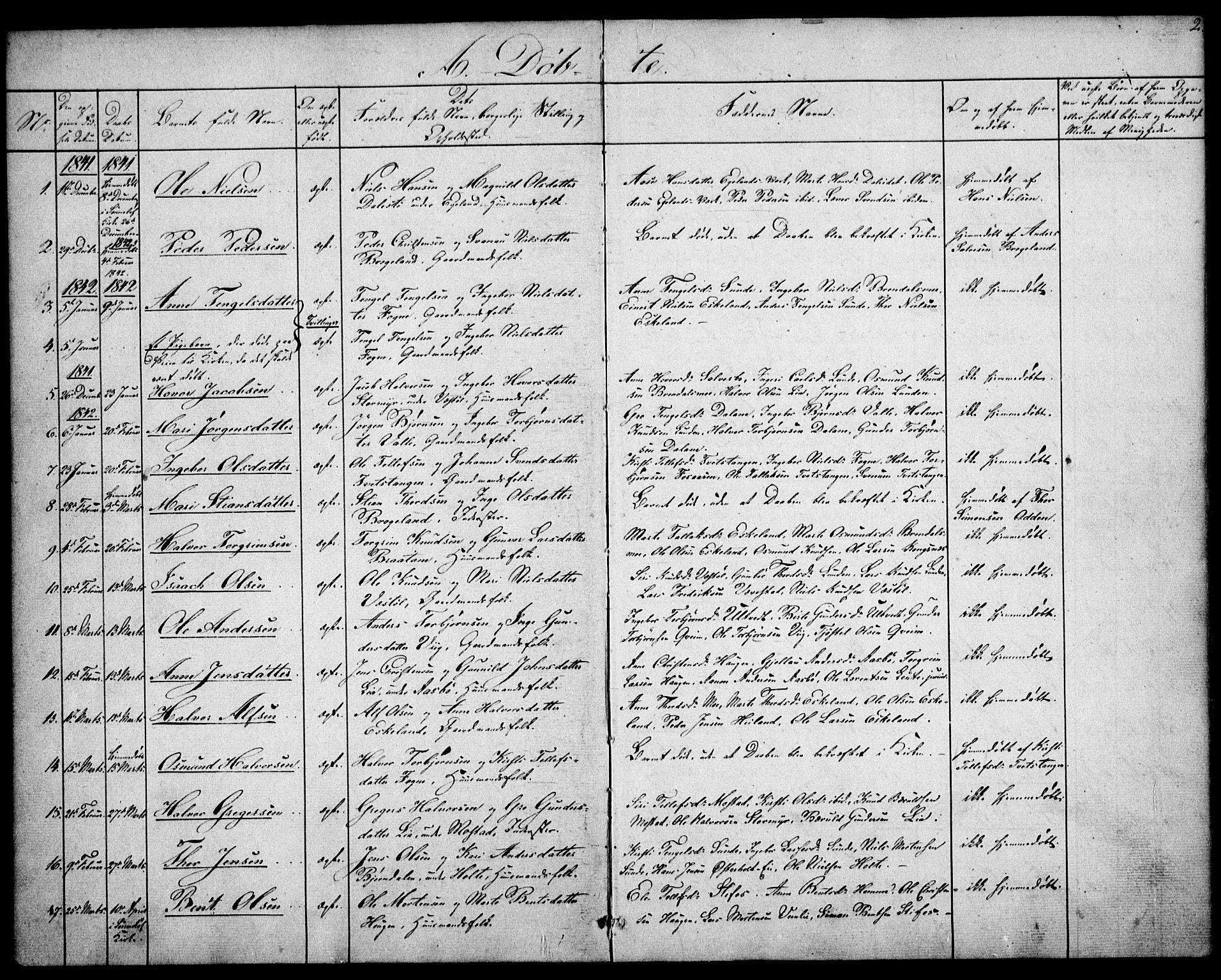 SAK, Gjerstad sokneprestkontor, F/Fa/Faa/L0006: Parish register (official) no. A 6, 1841-1857, p. 2