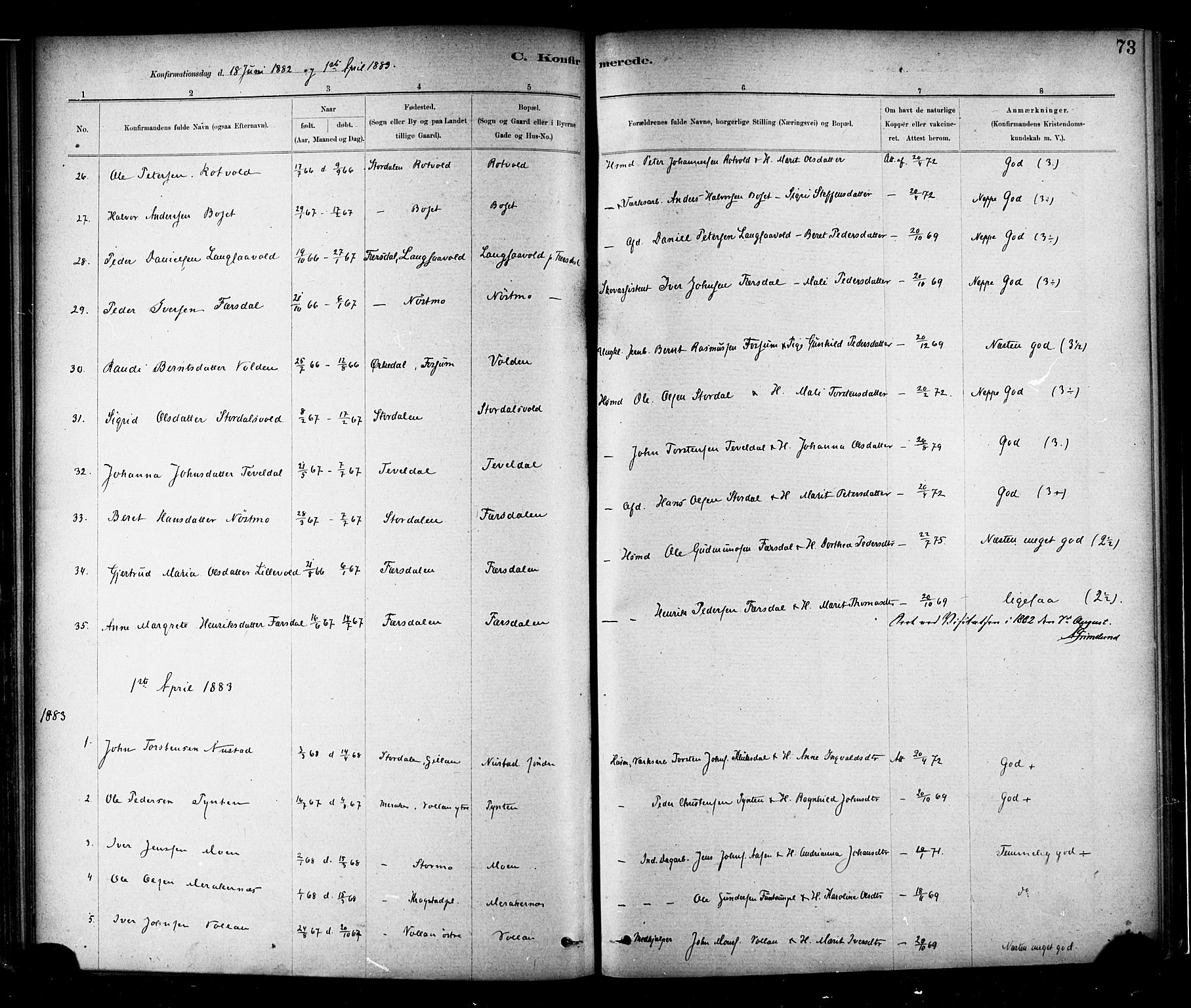 SAT, Ministerialprotokoller, klokkerbøker og fødselsregistre - Nord-Trøndelag, 706/L0047: Parish register (official) no. 706A03, 1878-1892, p. 73
