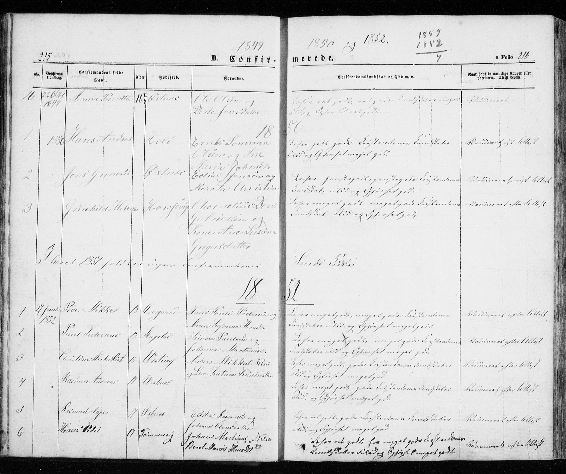SATØ, Trondenes sokneprestkontor, H/Ha/L0010kirke: Parish register (official) no. 10, 1840-1865, p. 215-216