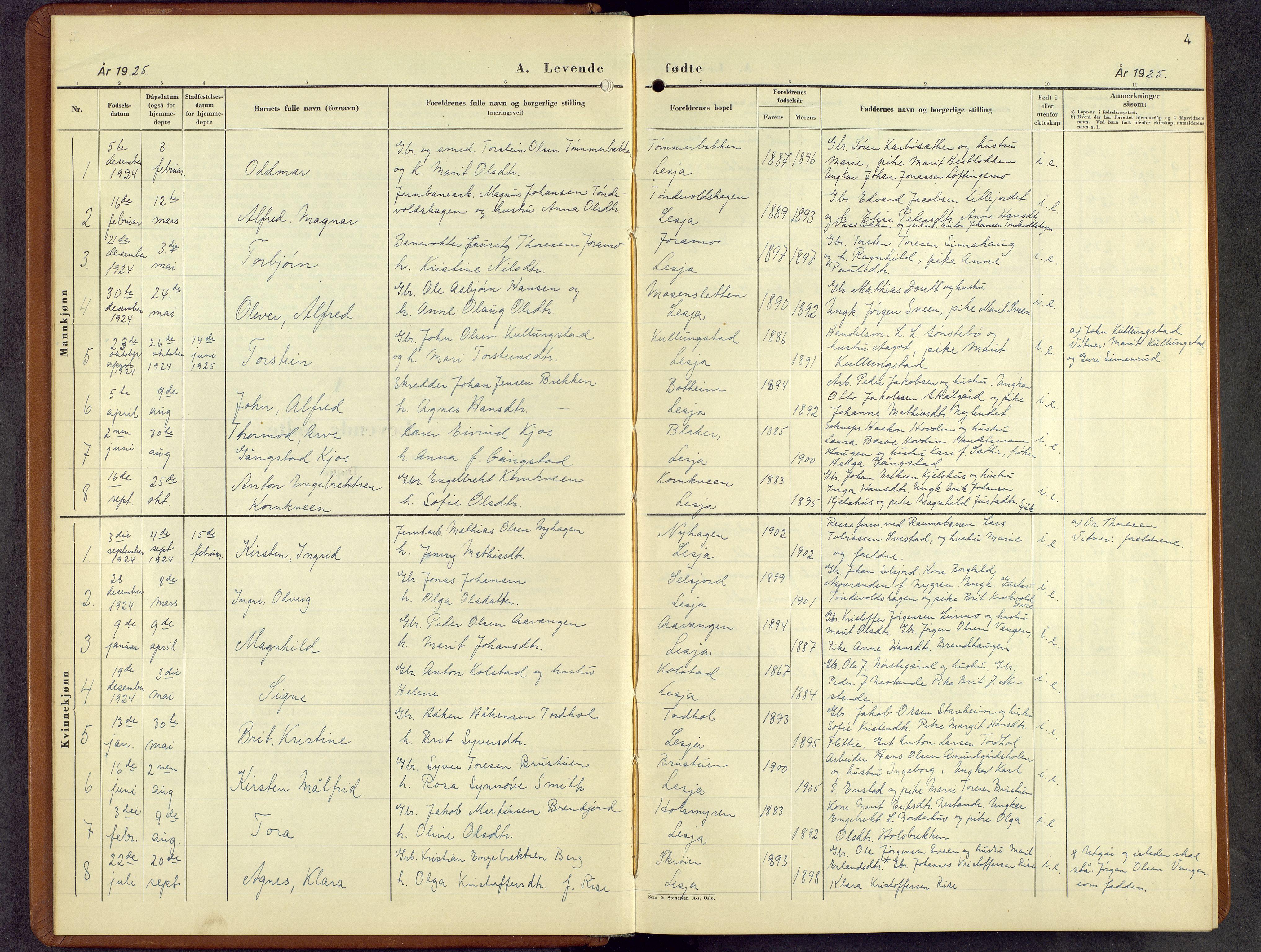 SAH, Lesja prestekontor, Parish register (copy) no. 10, 1925-1960, p. 4