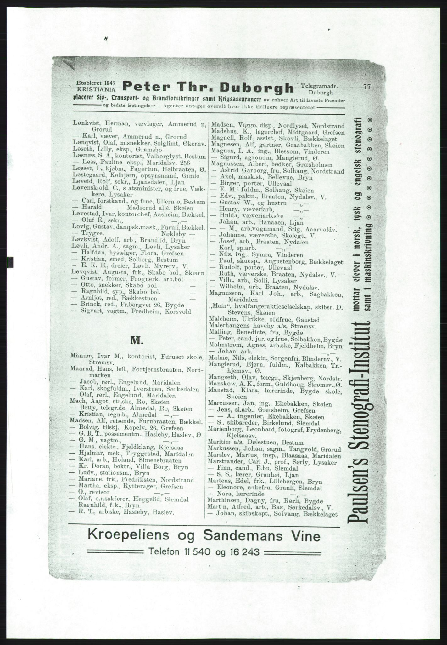 RA, Aker adressebok/adressekalender (publikasjon)*, 1916-1917, p. 77