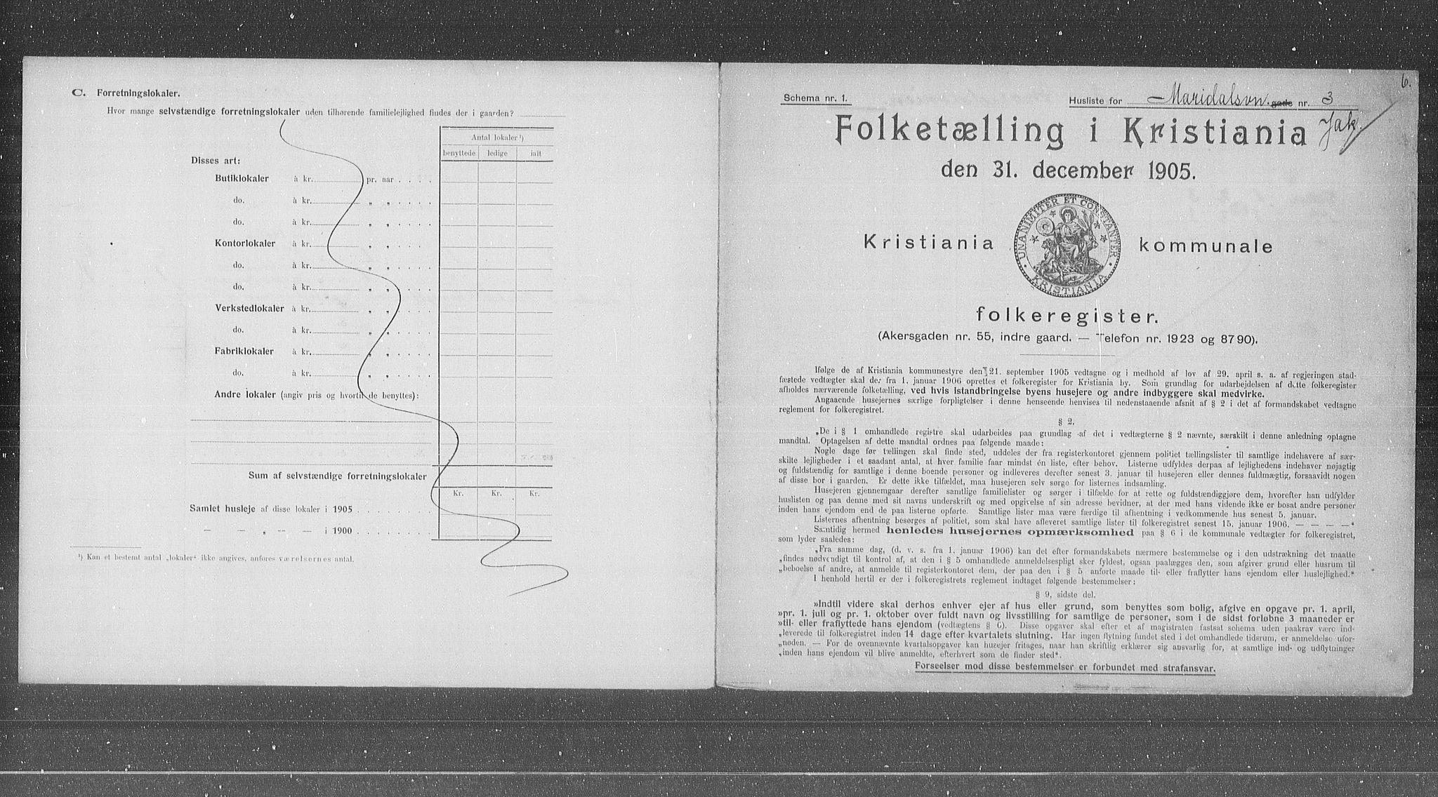 OBA, Municipal Census 1905 for Kristiania, 1905, p. 31660