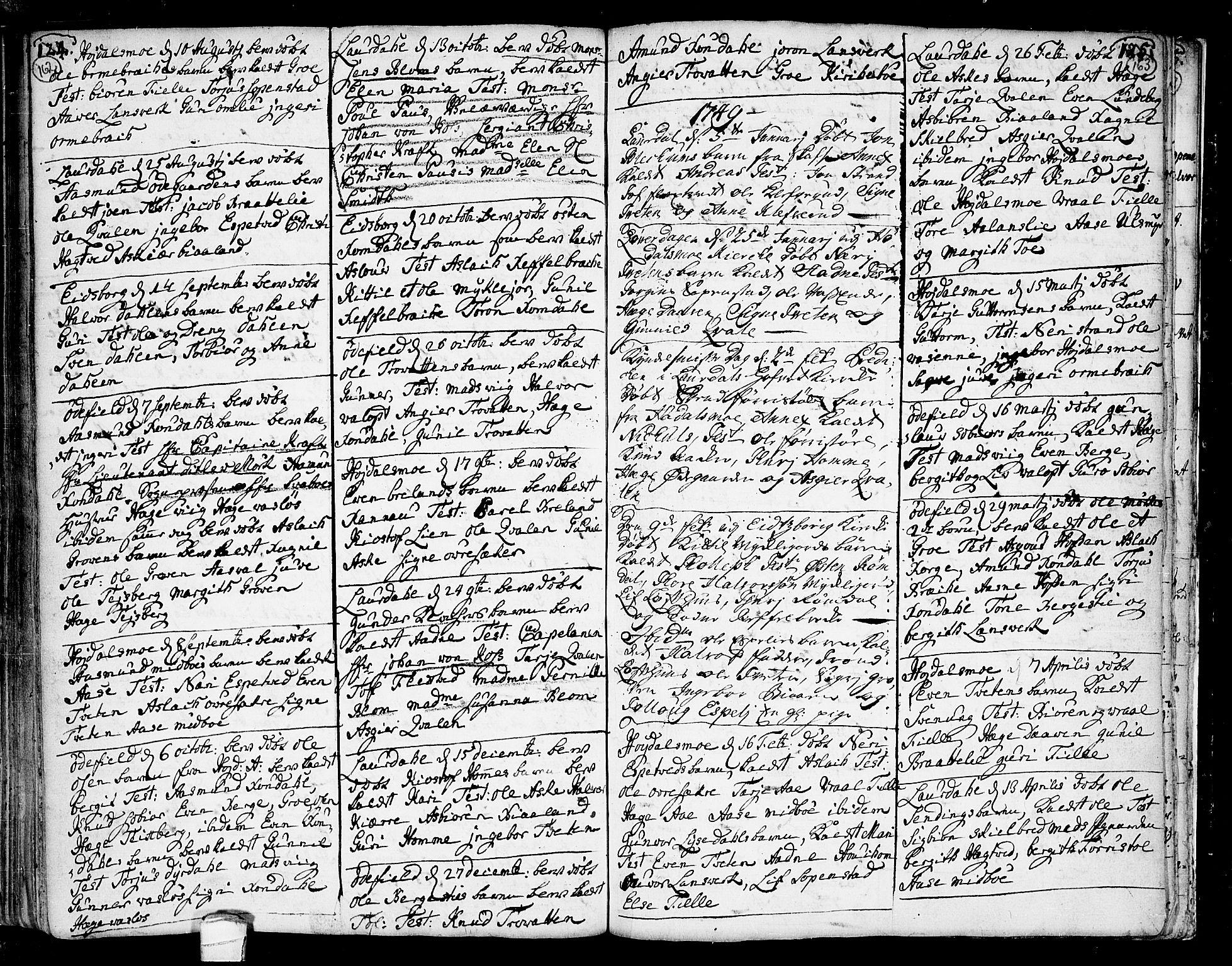 SAKO, Lårdal kirkebøker, F/Fa/L0002: Parish register (official) no. I 2, 1734-1754, p. 162-163
