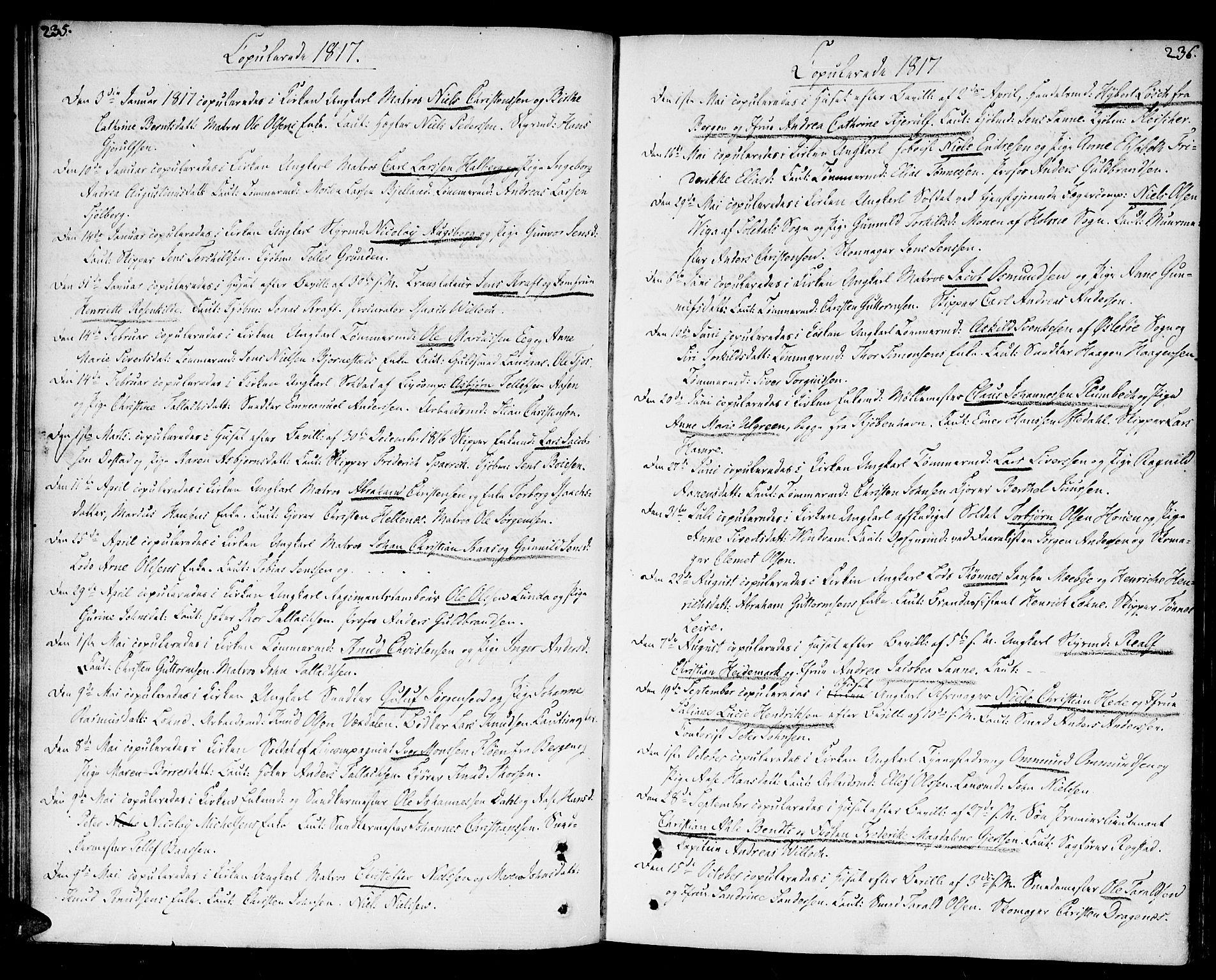 SAK, Kristiansand domprosti, F/Fa/L0005: Parish register (official) no. A 5, 1776-1818, p. 235-236