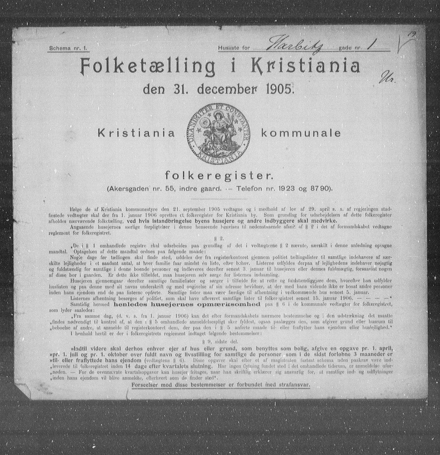 OBA, Municipal Census 1905 for Kristiania, 1905, p. 18036