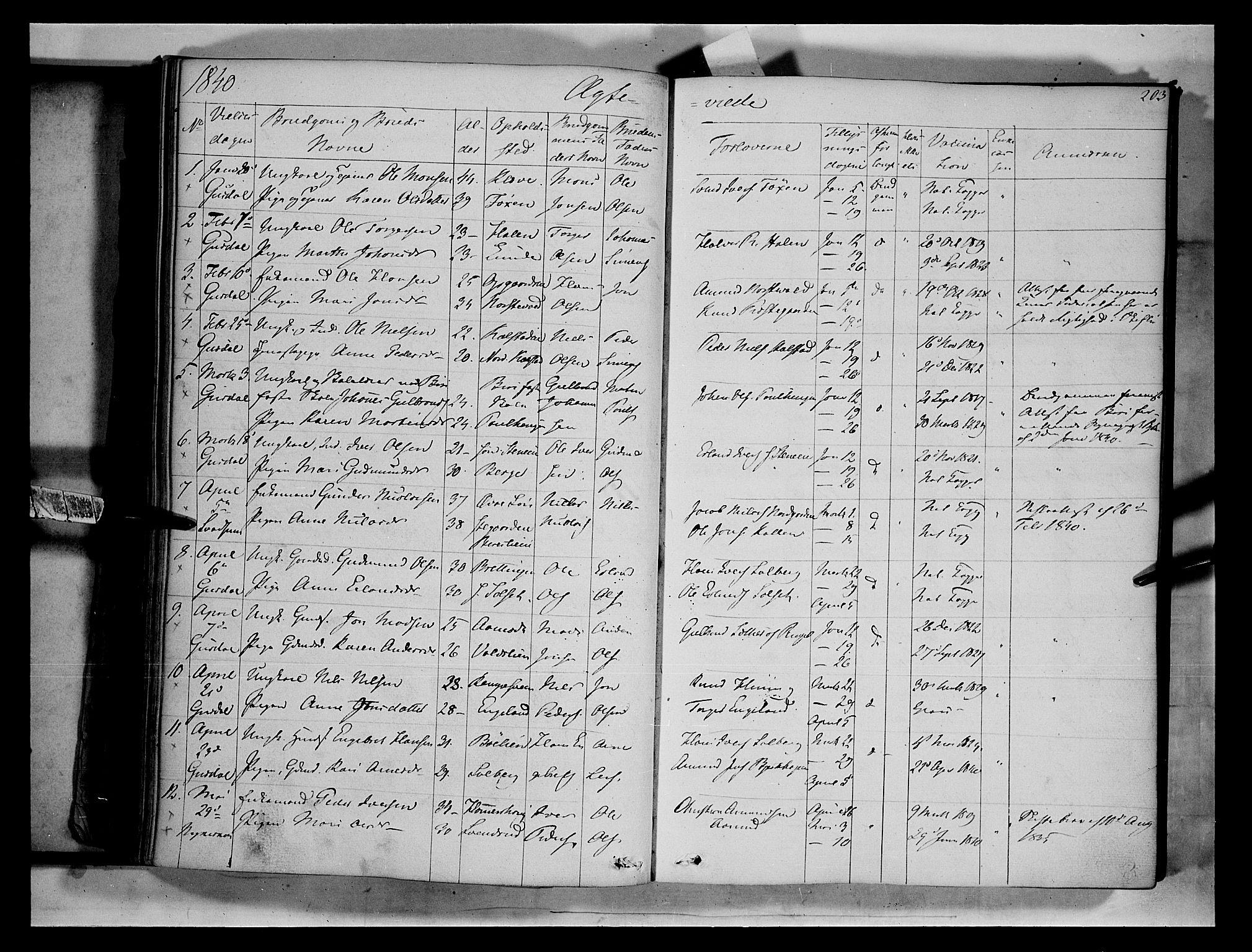 SAH, Gausdal prestekontor, Parish register (official) no. 7, 1840-1850, p. 203