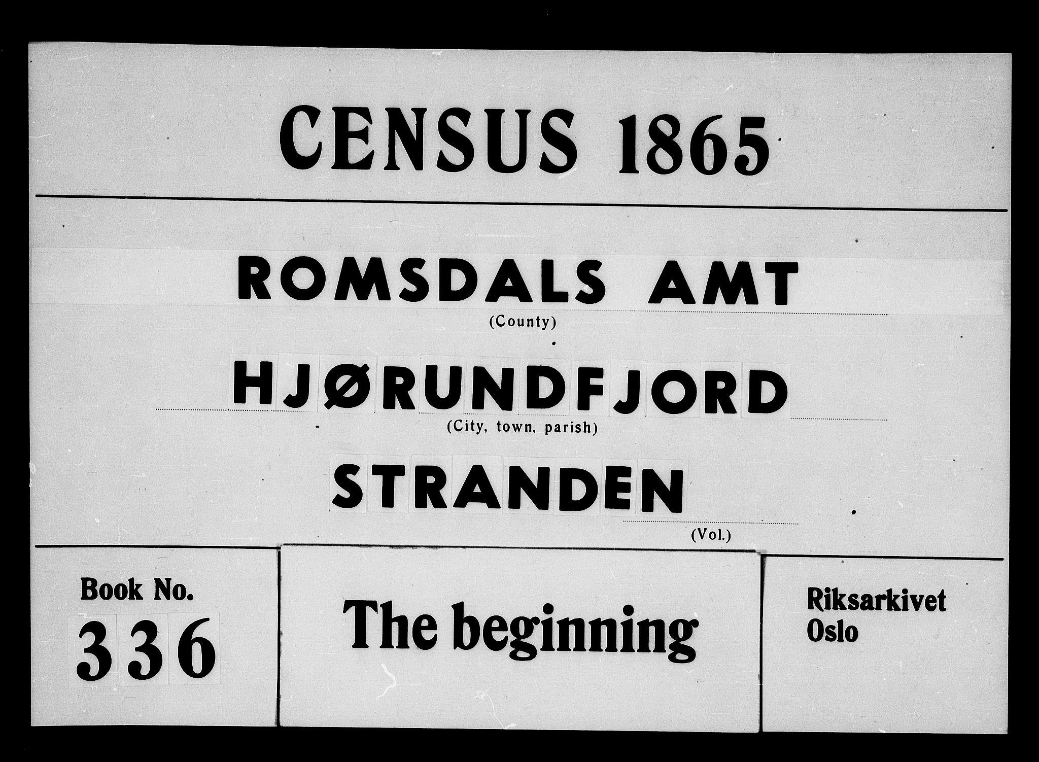 RA, 1865 census for Hjørundfjord, 1865, p. 1