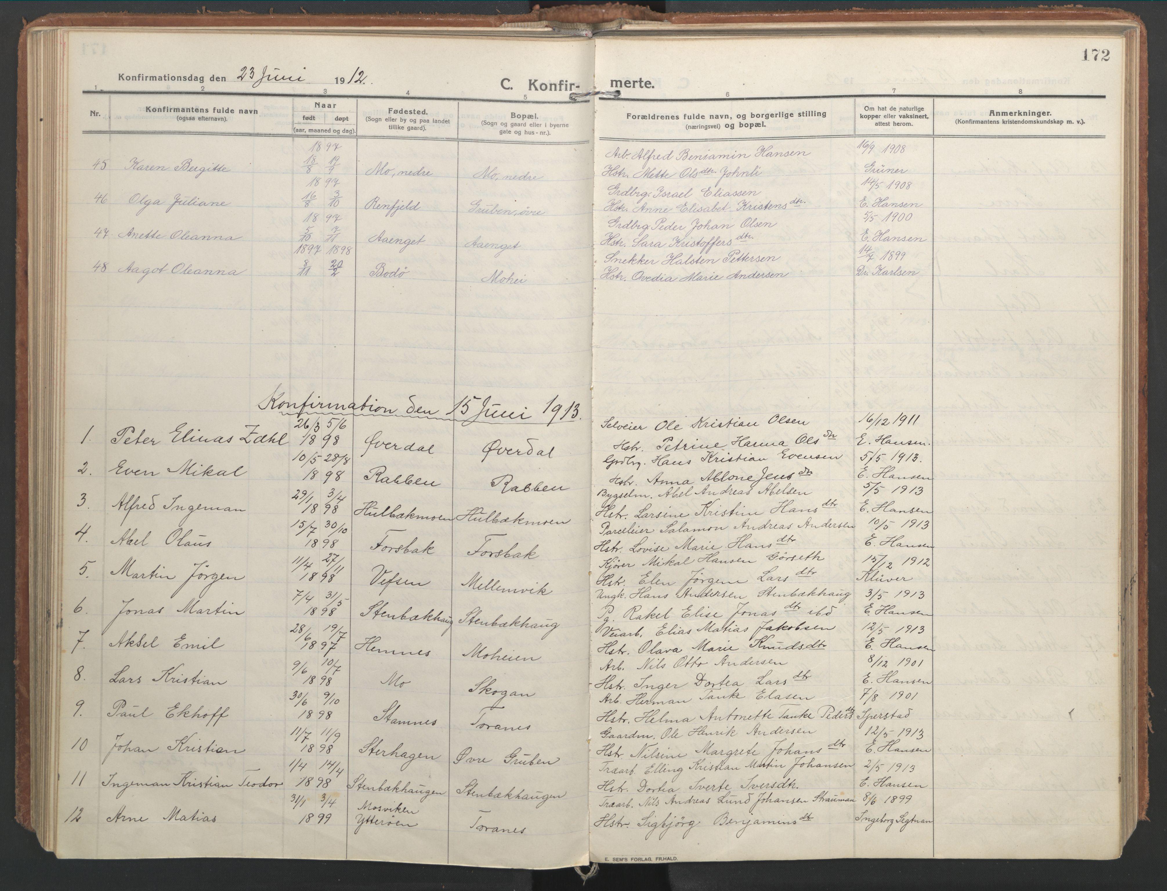 SAT, Ministerialprotokoller, klokkerbøker og fødselsregistre - Nordland, 827/L0404: Parish register (official) no. 827A16, 1912-1925, p. 172