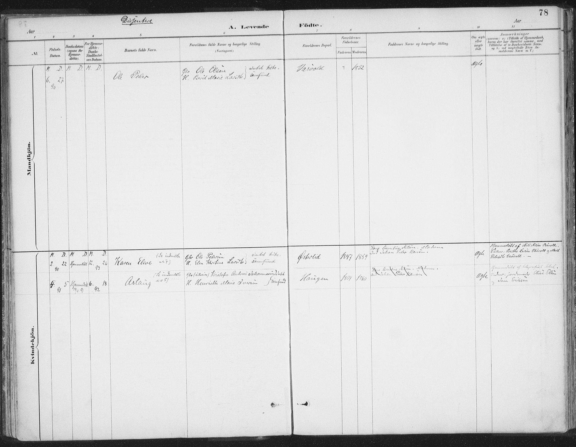 SATØ, Balsfjord sokneprestembete, Parish register (official) no. 7, 1887-1909, p. 78