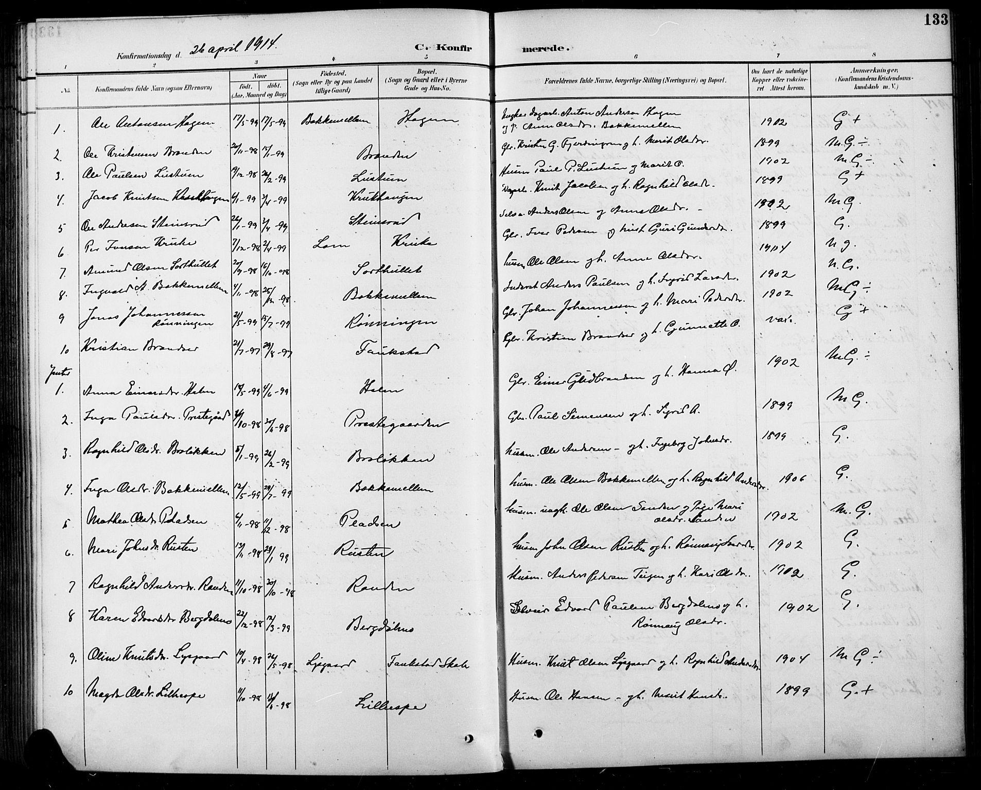 SAH, Sel prestekontor, Parish register (copy) no. 5, 1894-1923, p. 133